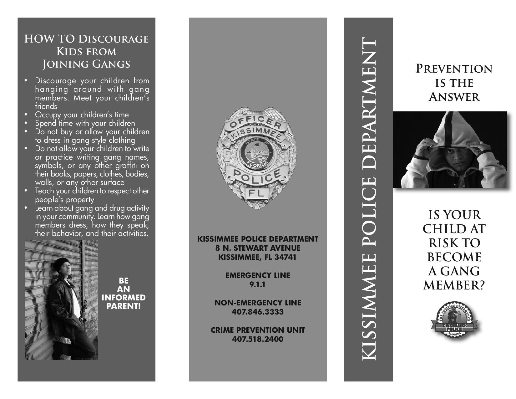 Gang Prevention Brochure By Frank Iwanski Issuu