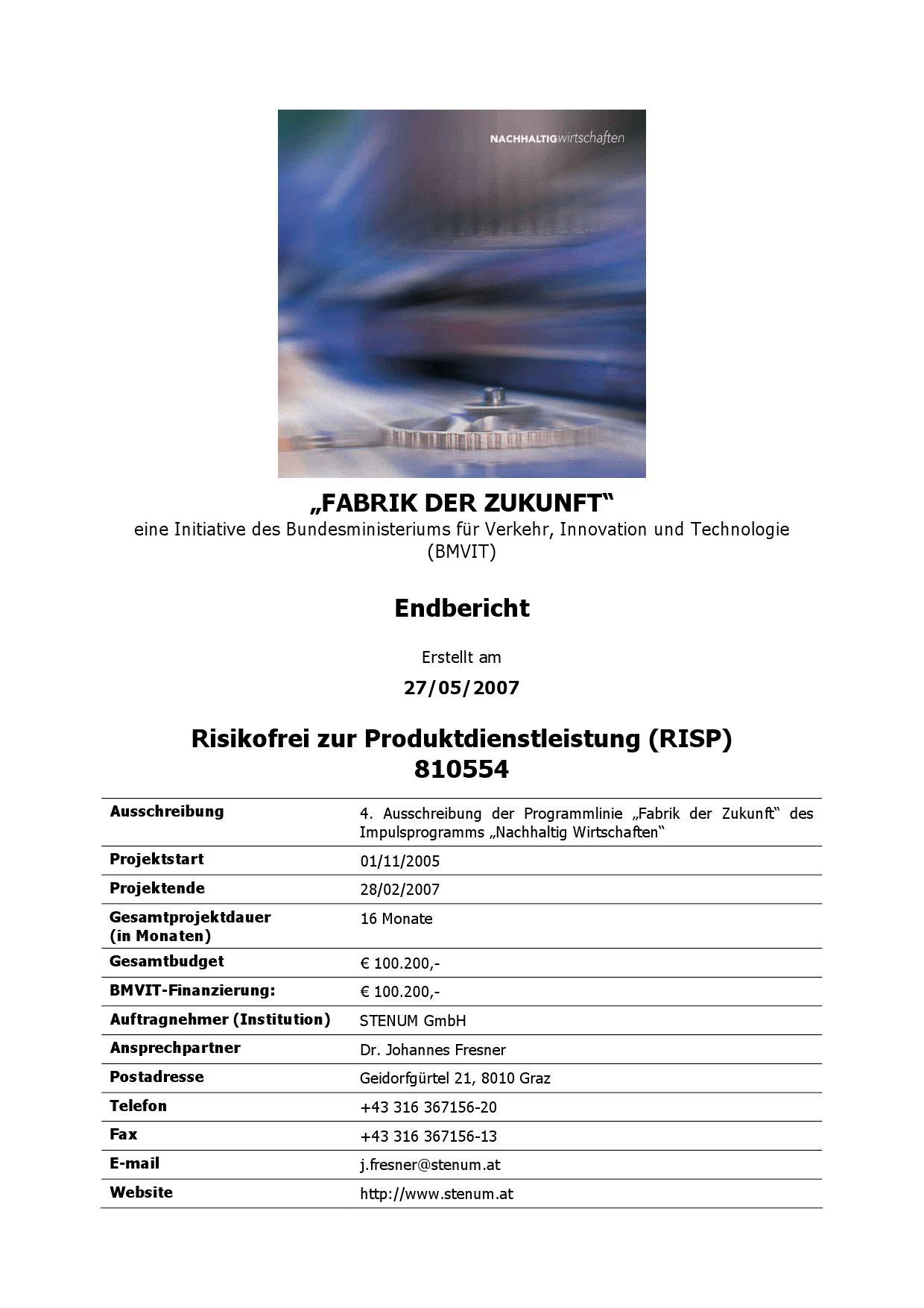 Risikofrei zur Produktdienstleistung (RISP) by Johannes Fresner - issuu