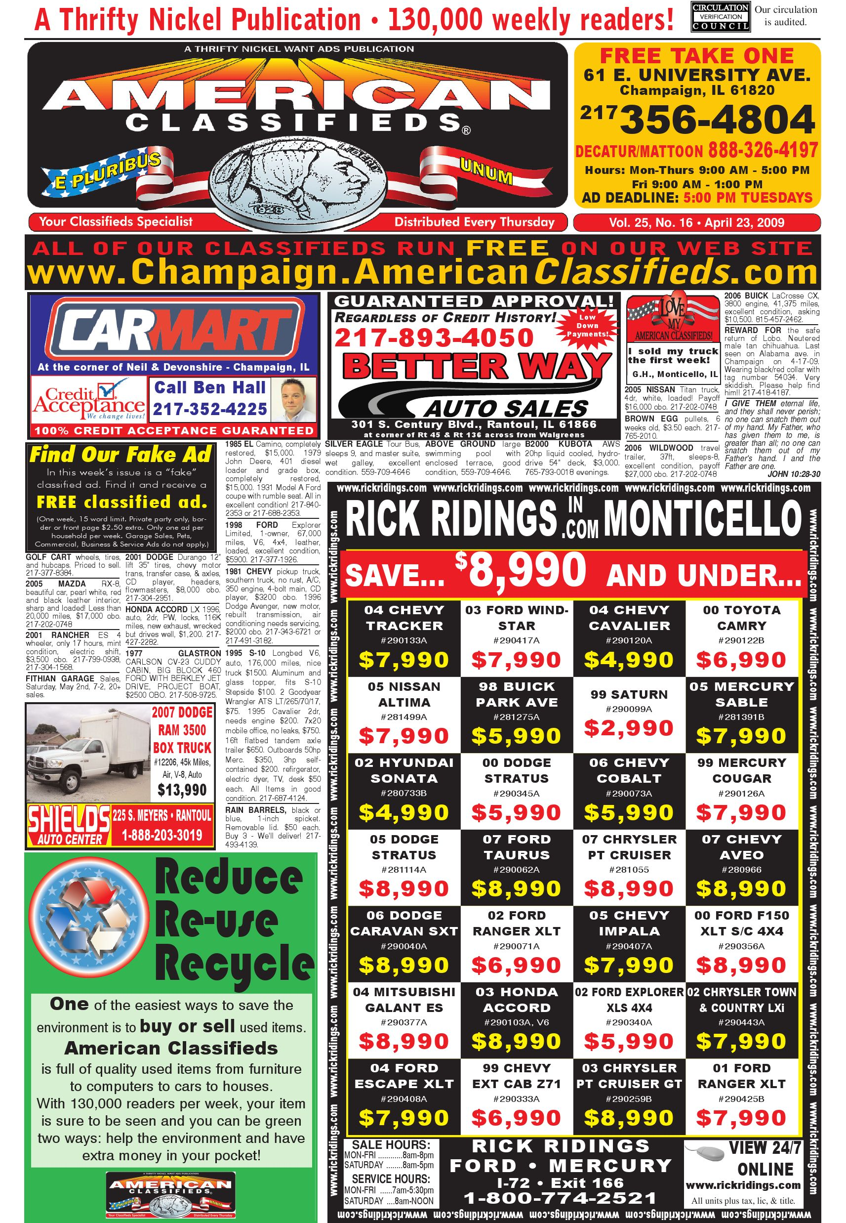 American classifieds champaign 04 23 09 by american classifieds issuu fandeluxe