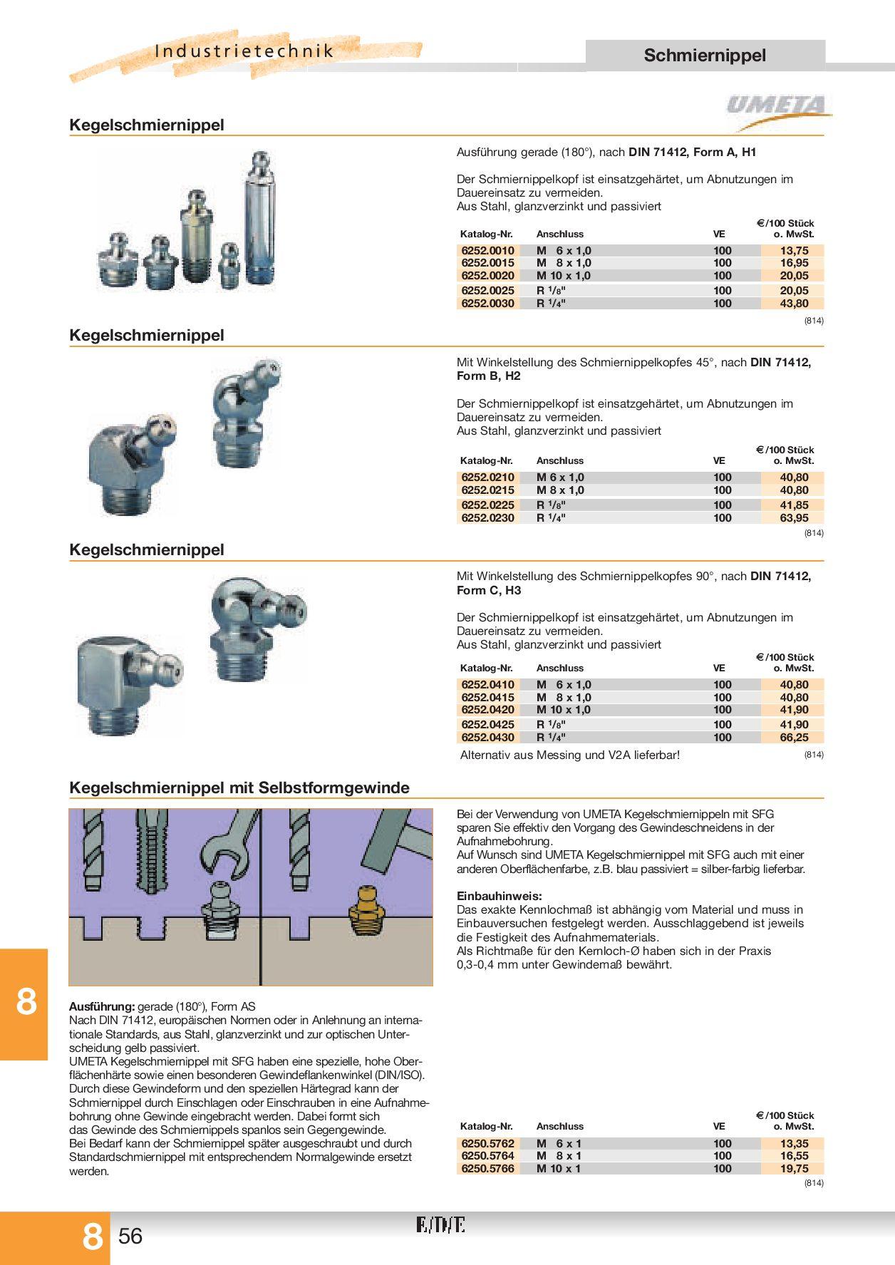DIN 71412 A Kegelschmiernippel 100 Stück Schmiernippel Stahl SFG M8 x 1,0