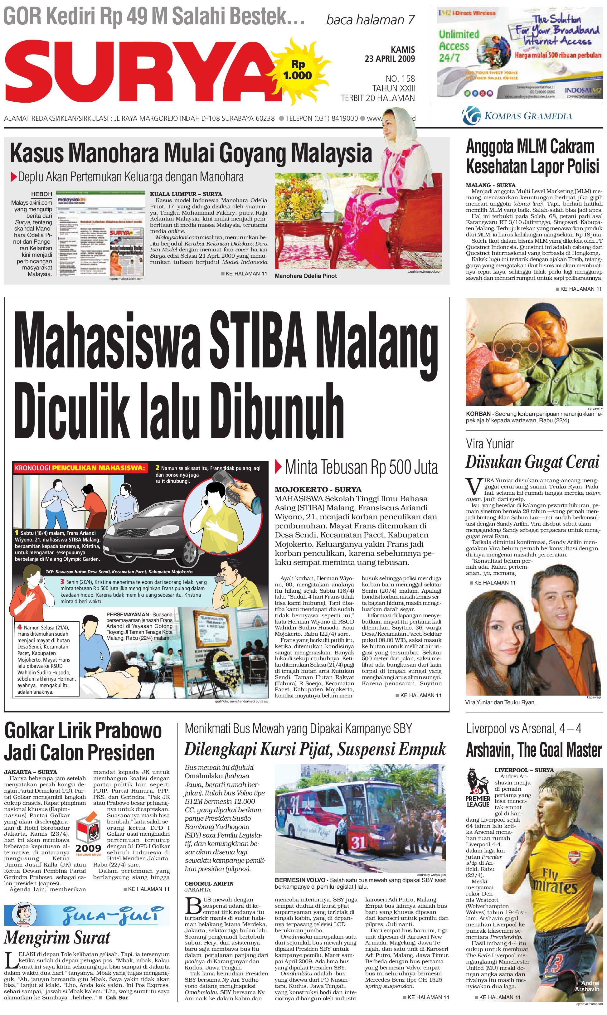Surya Edisi Cetak 23 April 2009 By Harian Issuu Jam Tangan Qampampq A170 Original Bergaransi