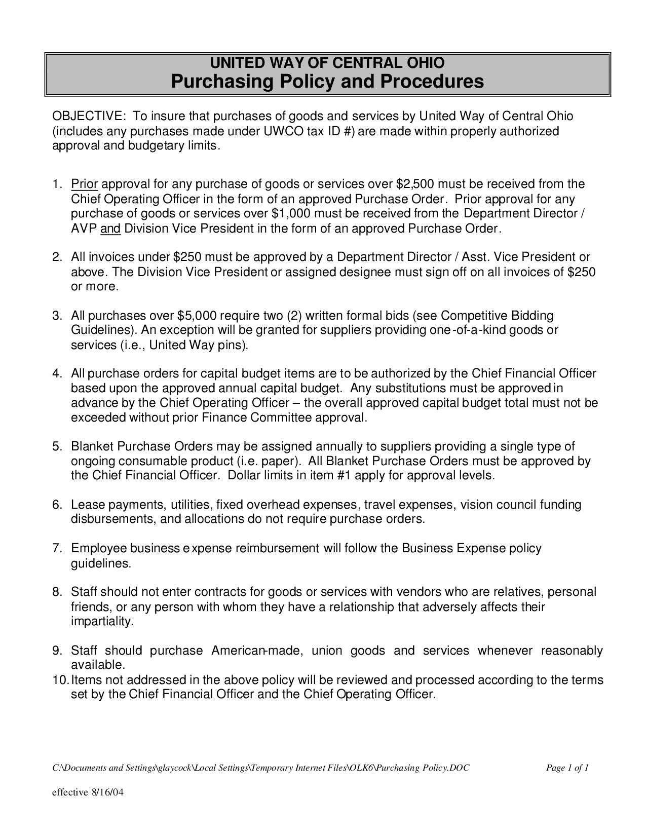 Purchasing Policy Pdf By United Way Of Central Ohio