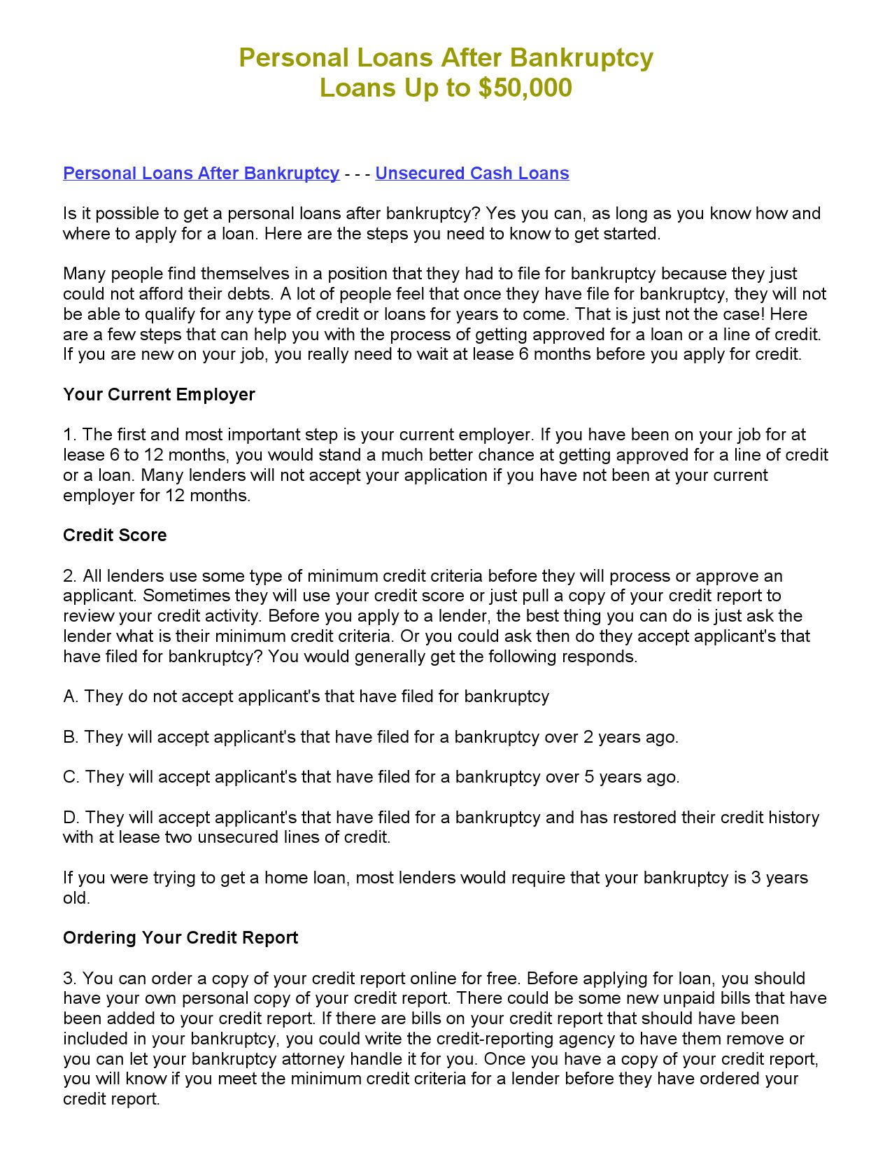 Personal Loans After Bankruptcy By Steve Williams