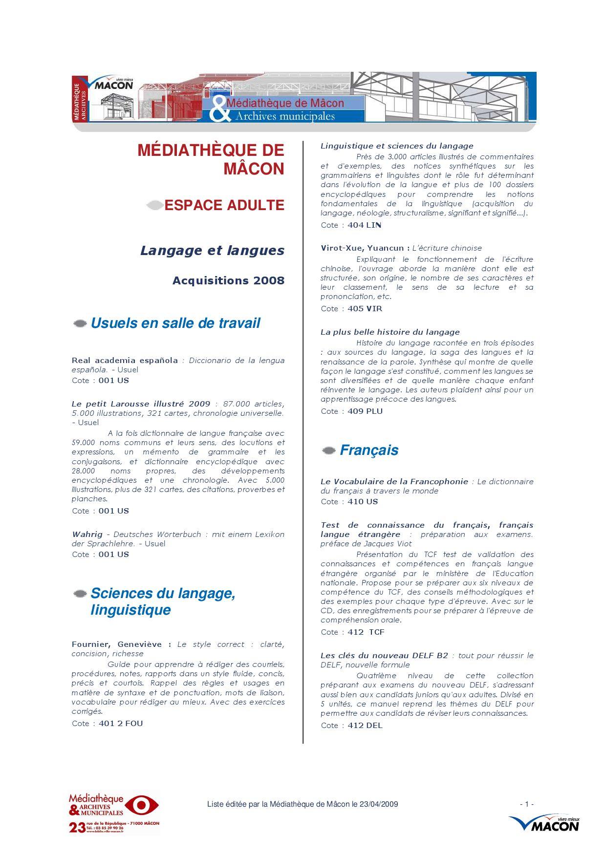 Langage de datation français