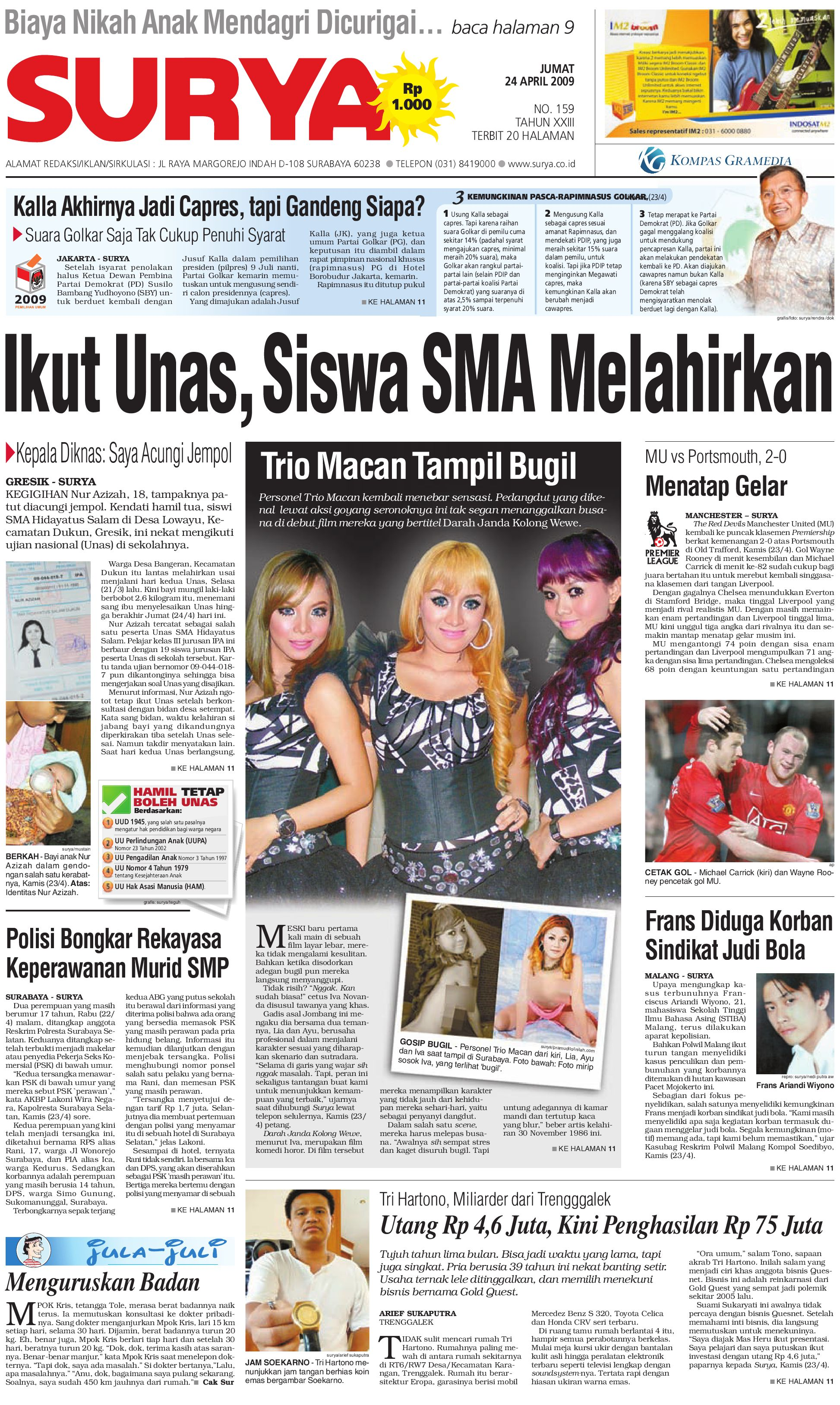 harian surya edisi cetak 24 april 2009 by harian surya issuu