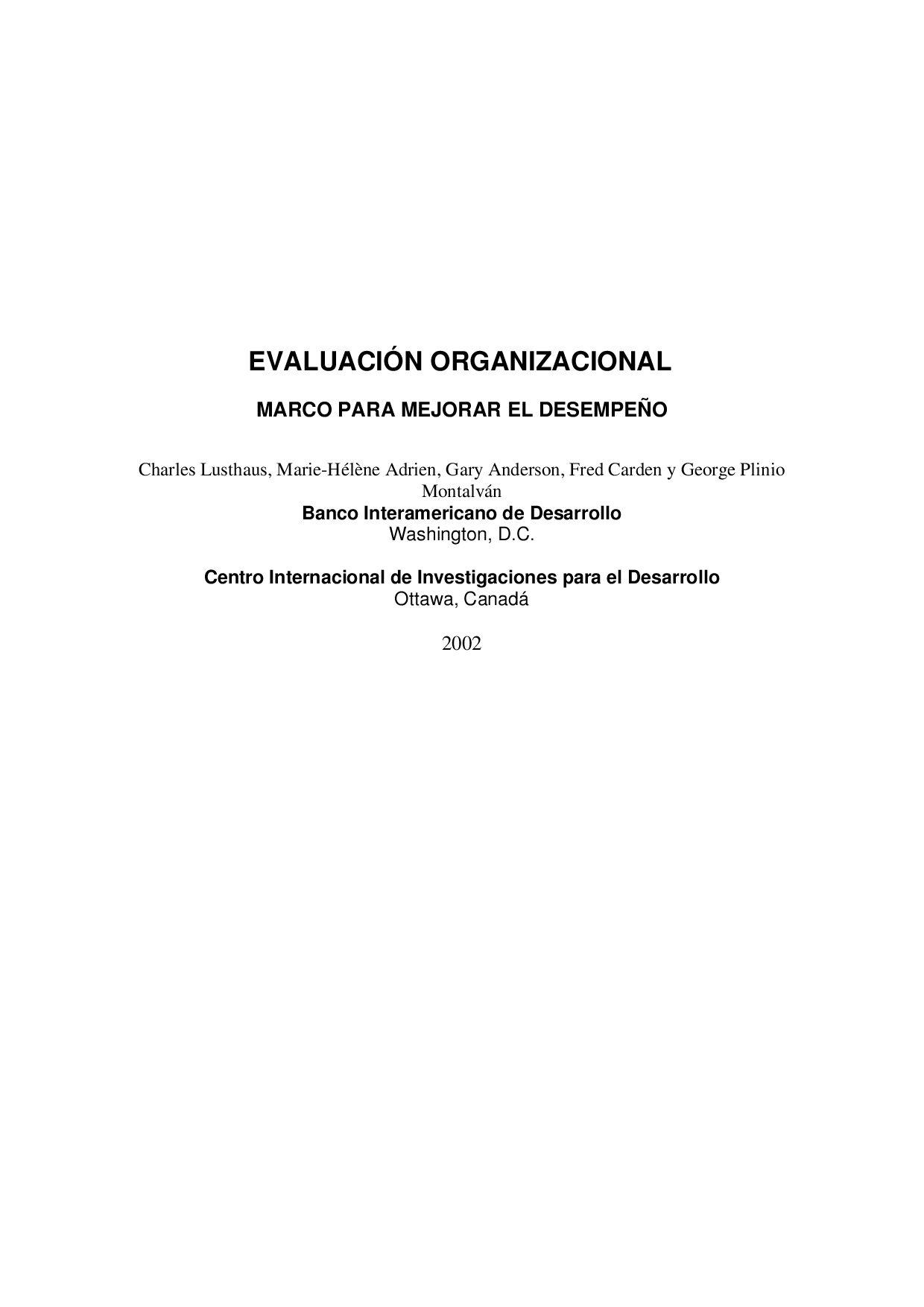 Evaluación Organizacional: Marco para Mejorar el Desempeño by ...
