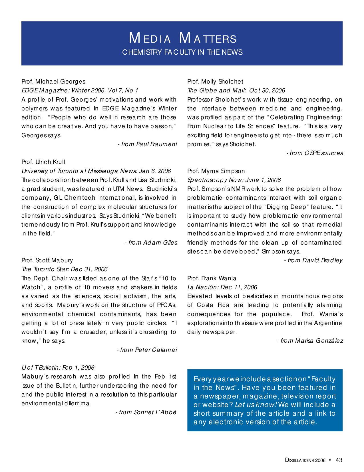 Distillations 2006 Magazine by University of Toronto - issuu