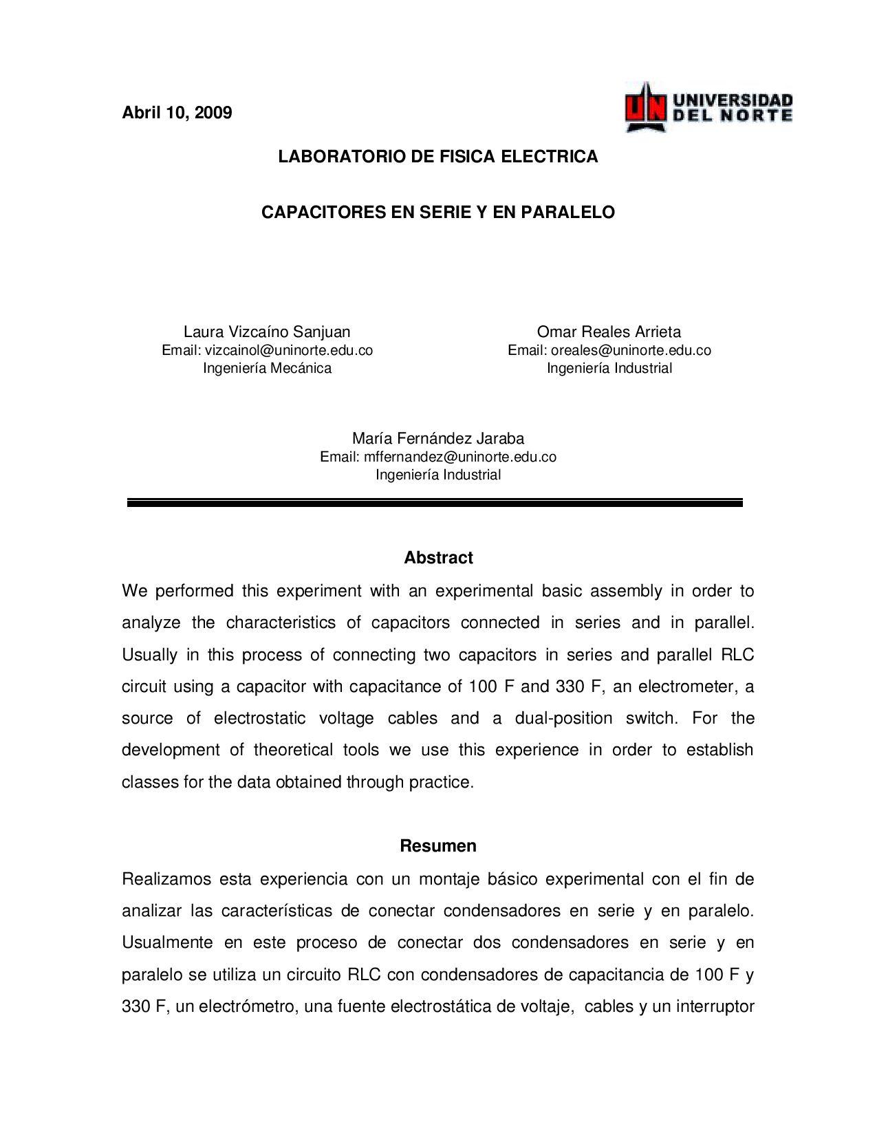 Circuito Seri E Paralelo : Informe capacitores en serie y paralelo by omar reales issuu