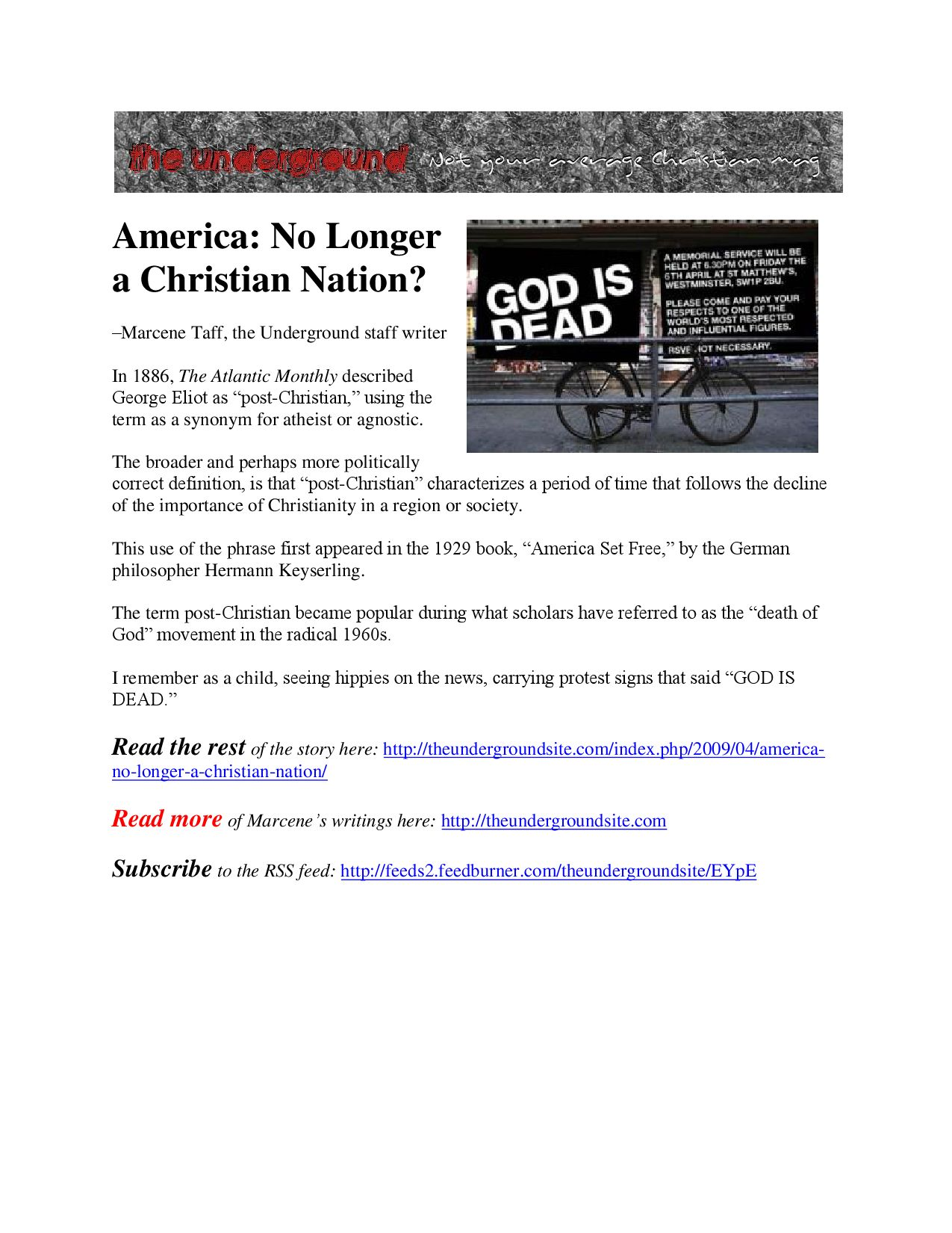 America No Longer Christian by The Underground - issuu