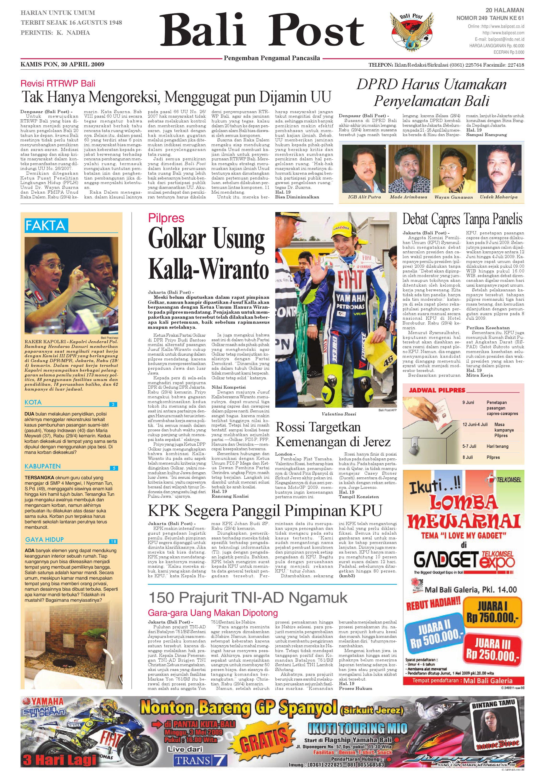 Bali Post Kamis 30 April 2009 By E Paper KMB Issuu