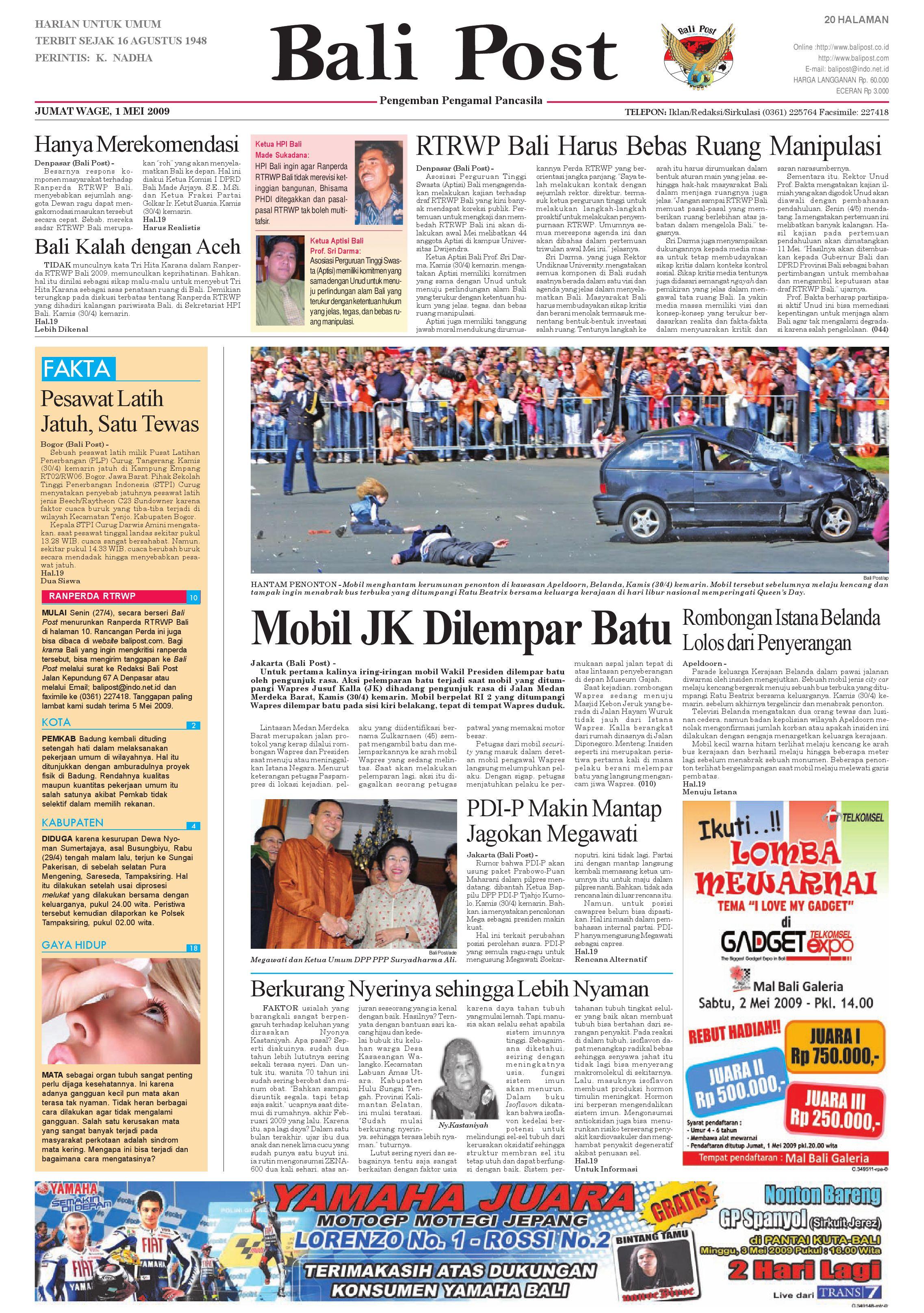 Bali Post Jumat 1 Mei 2009 By E Paper Kmb Issuu Batur Kursi Makan Kayu Jati Unik Scandinavian Modern Cafe Rumah