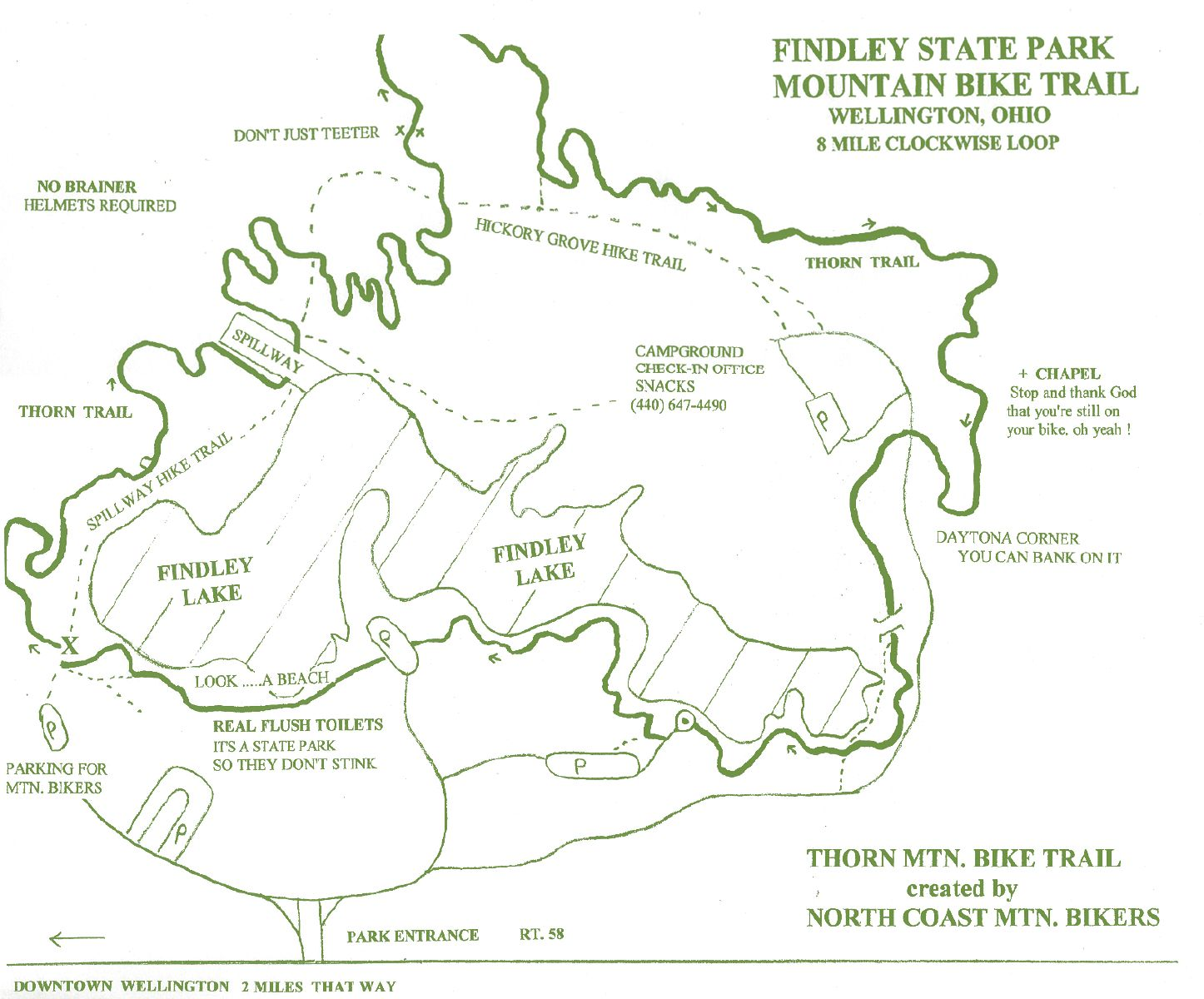 State Parks Ohio Map.Findley State Park Thorn Mountain Bike Trail Map By Visit Lorain