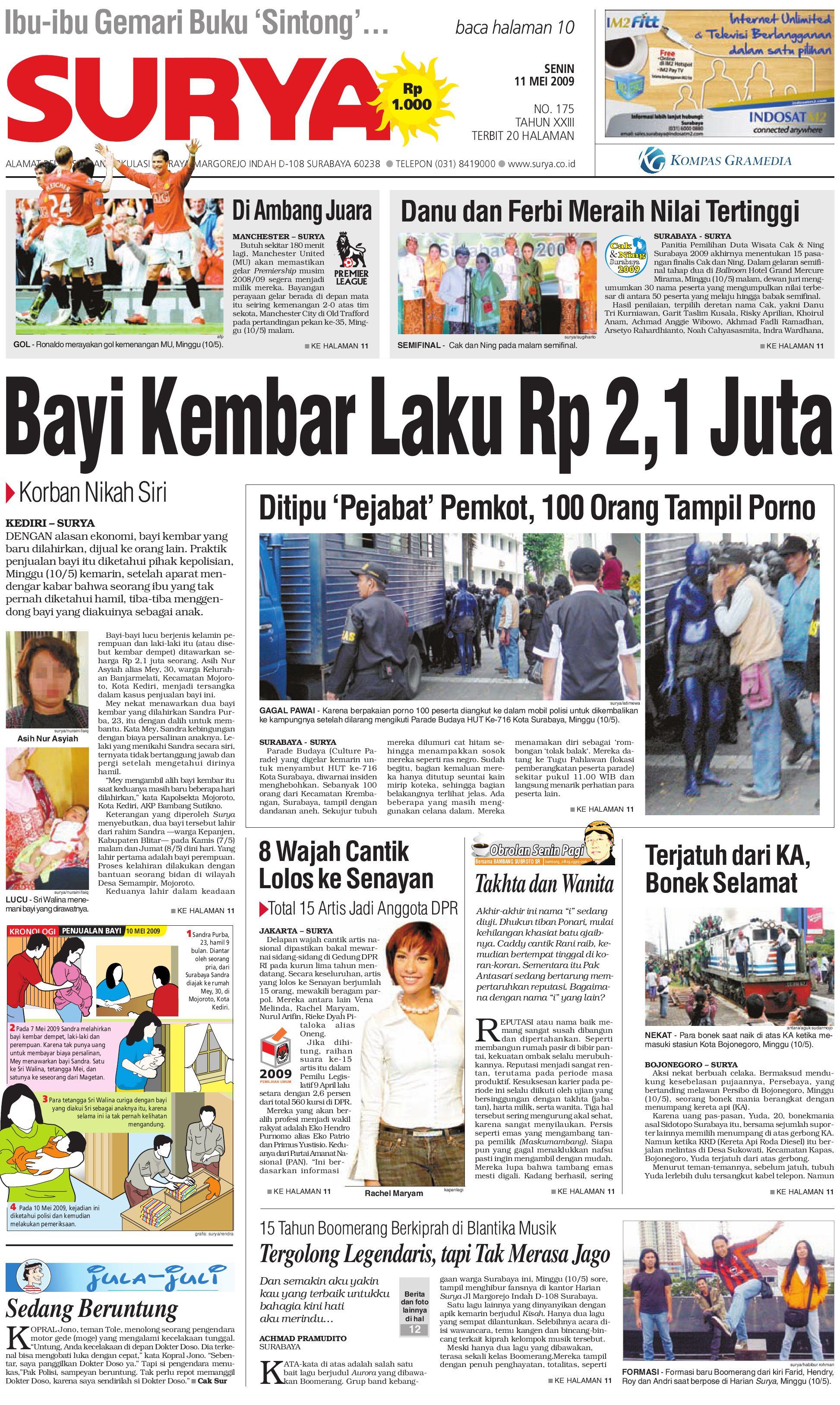 Surya Edisi Cetak 11 Mei 2009 by Harian SURYA - issuu