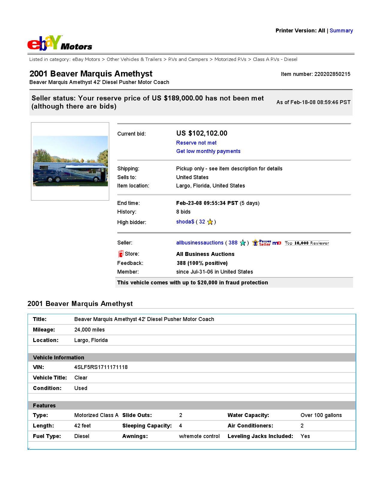 Ebay Motors Beaver Marquis Amethyst 42 Diesel Pusher Motor Coach Item 220202850215 End Time Feb 2 By Ibusinesslogic Corporation Issuu