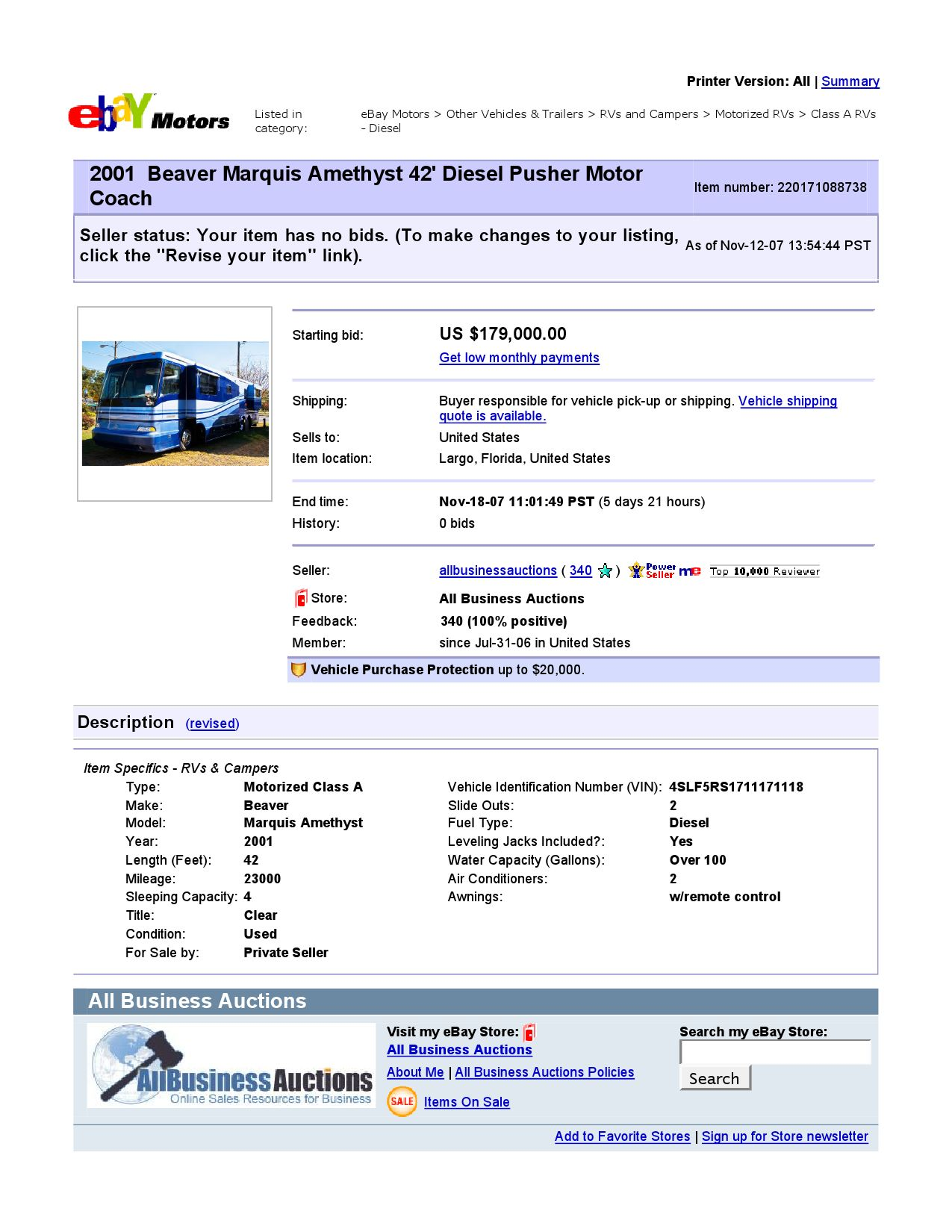 Ebay Motors Beaver Marquis Amethyst 42 Diesel Pusher Motor Coach Item 220171088738 End Time Nov 1 By Ibusinesslogic Corporation Issuu
