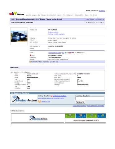 Ebay Motors Beaver Marquis Amethyst 42 Diesel Pusher Motor Coach Item 220166665379 End Time Nov 1 By Ibusinesslogic Corporation Issuu