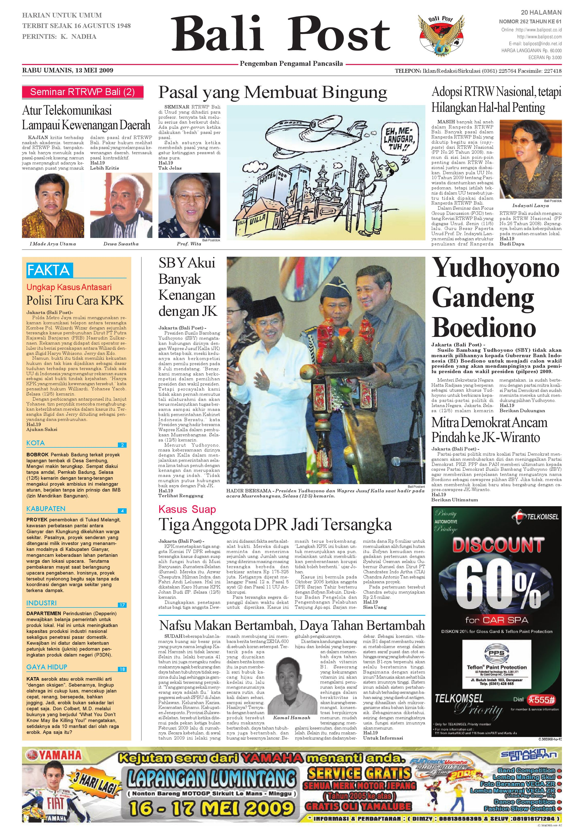 Bali Post Rabu 13 Mei 2009 By E Paper Kmb Issuu Voucher 300 Plus Tiara Gatzu Monang Maning Toko Soputan
