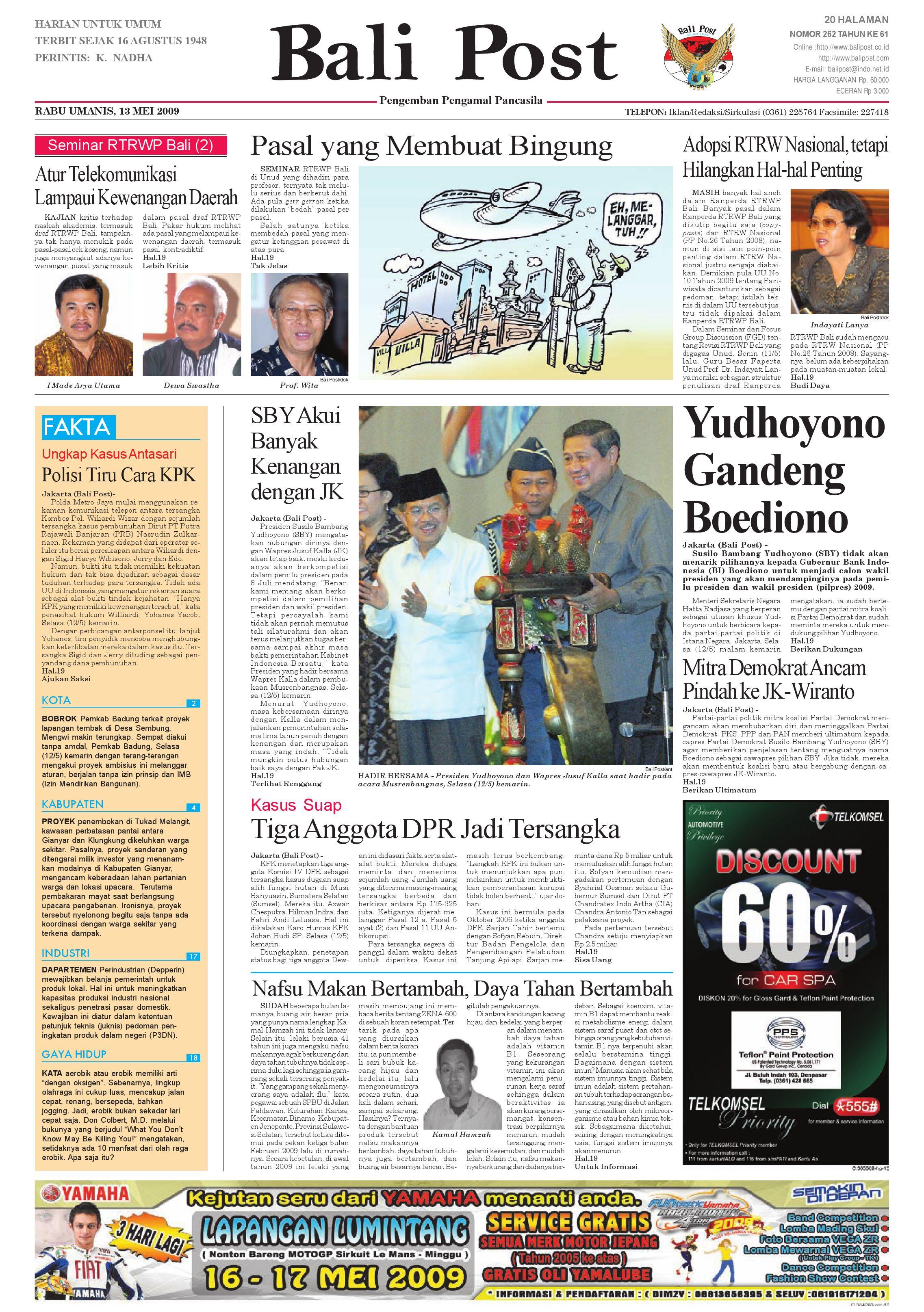 Bali Post Rabu 13 Mei 2009 By E Paper Kmb Issuu Rkb Tegal Sarung Bantal Flanel