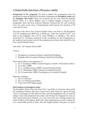 Badulla Project Report: April 2009 by International Medical