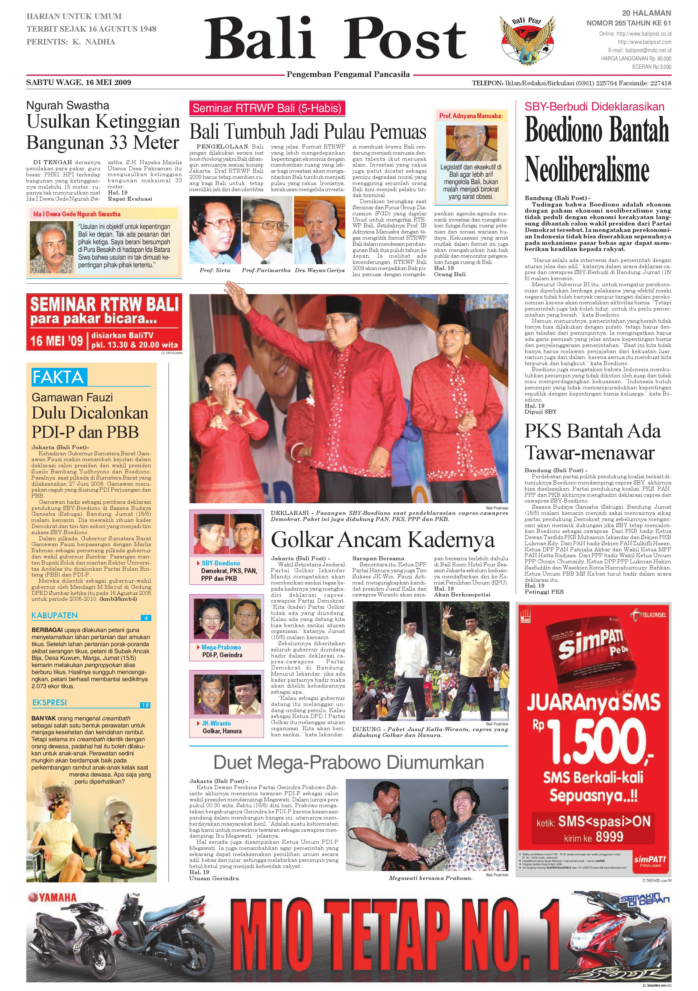 Bali Post Sabtu 16 Mei 2009 By E Paper Kmb Issuu