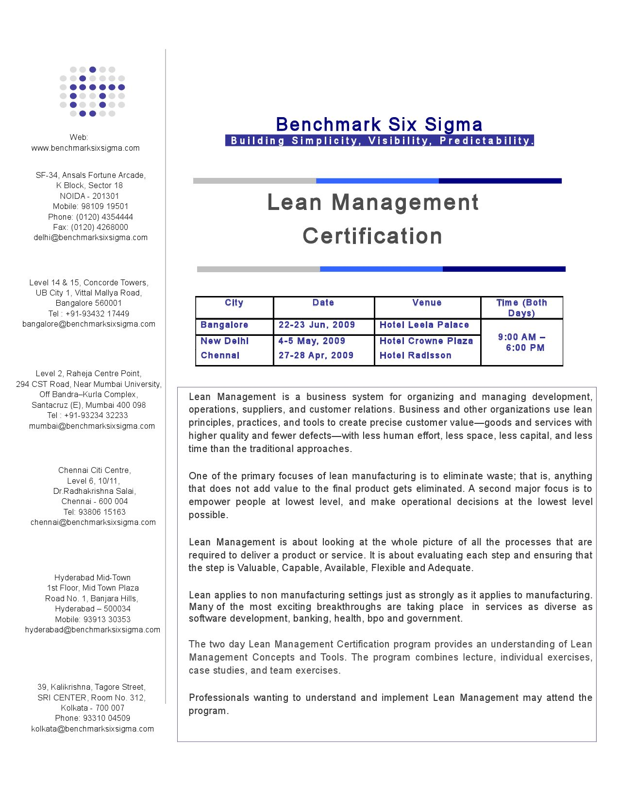 Benchmark Six Sigma Lean Management Training Brochure By Benchmark
