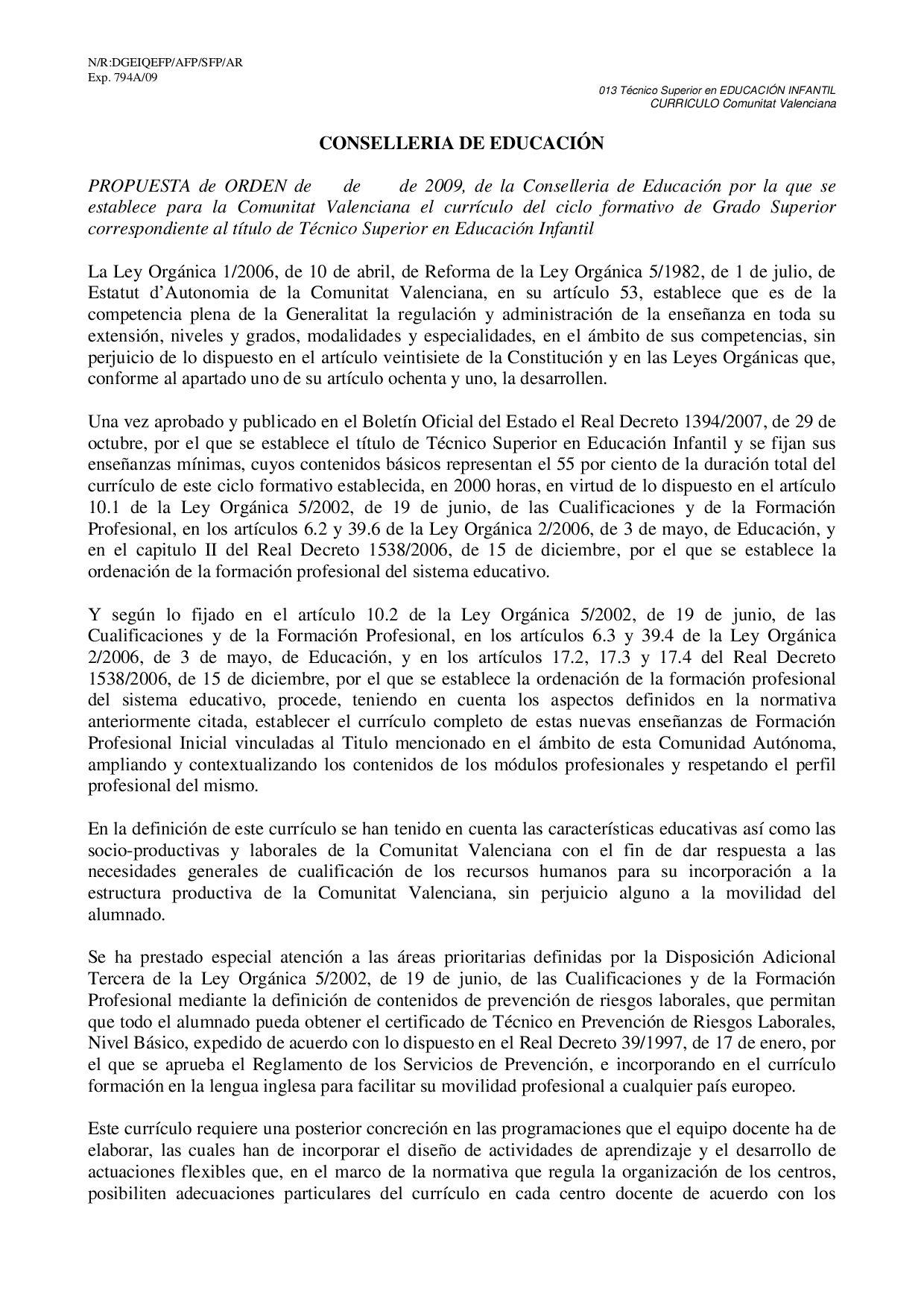 Curriculo Titulo De Educacion Infantil By Adelia Bertomeu