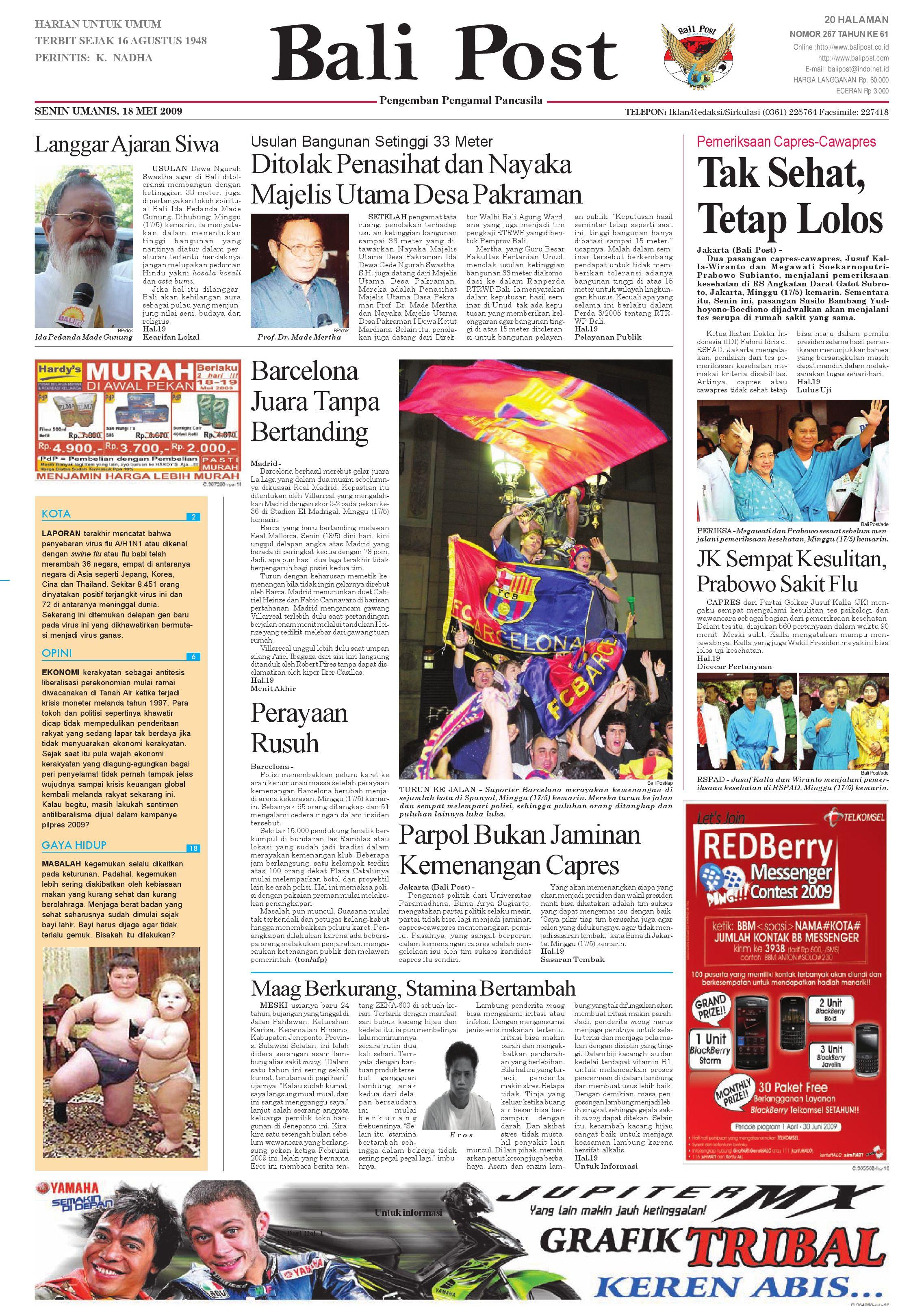 Bali Post Senin 18 Mei 2009 By E Paper KMB Issuu