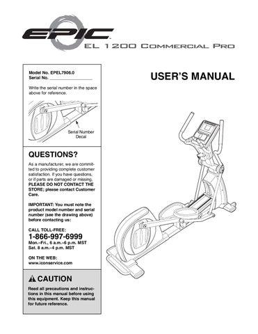 epic 1200 manual by michael le du issuu rh issuu com ProForm 850 Elliptical Proform Elliptical