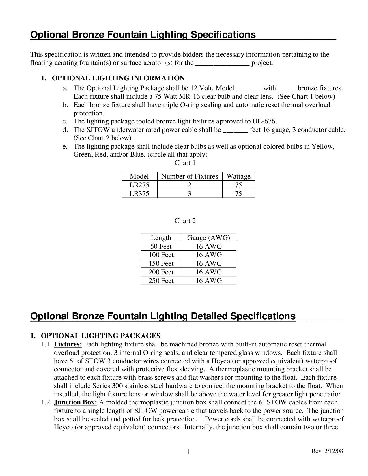 Microsoft word bronze fountain lighting specifications doc by algaecontrol us issuu