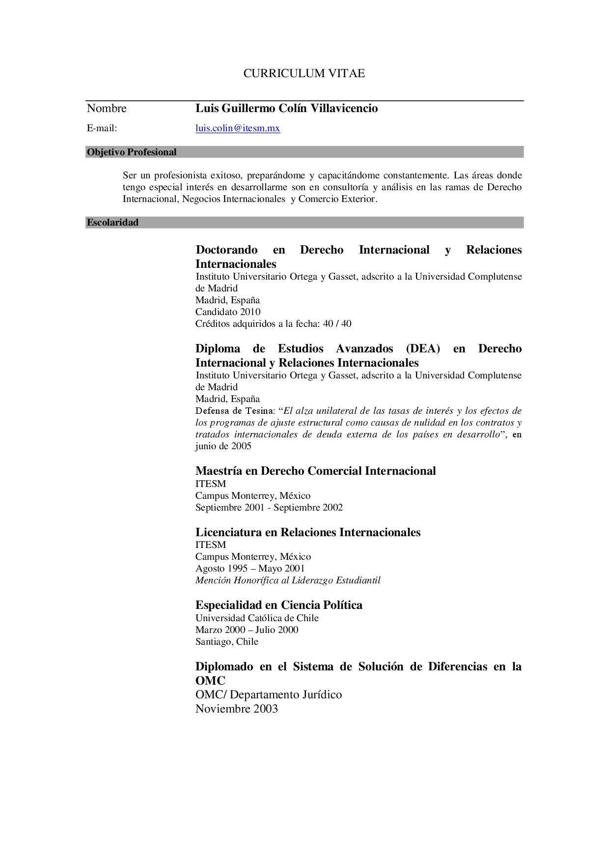 CURRICULUM by Luis Guillermo Colin - issuu
