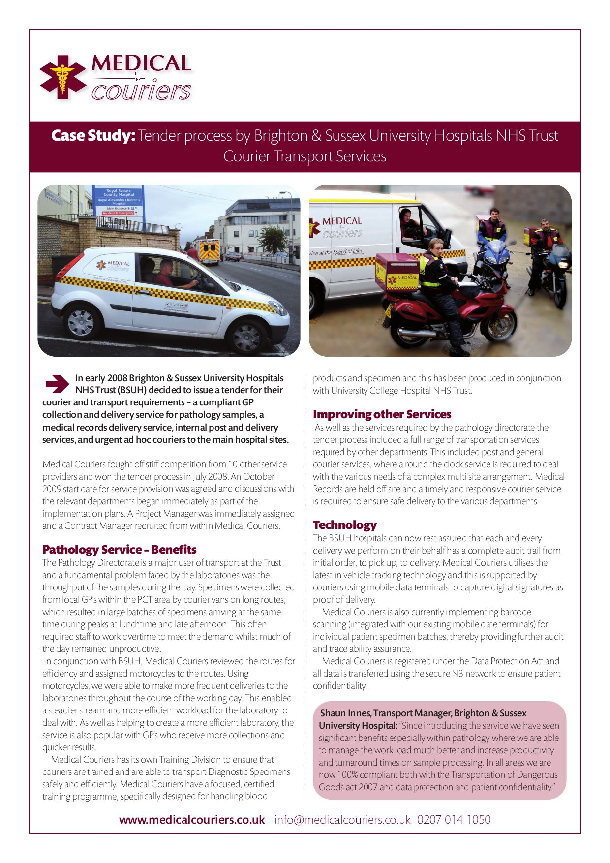 Brighton Couriers Case Study by Medical Services - issuu