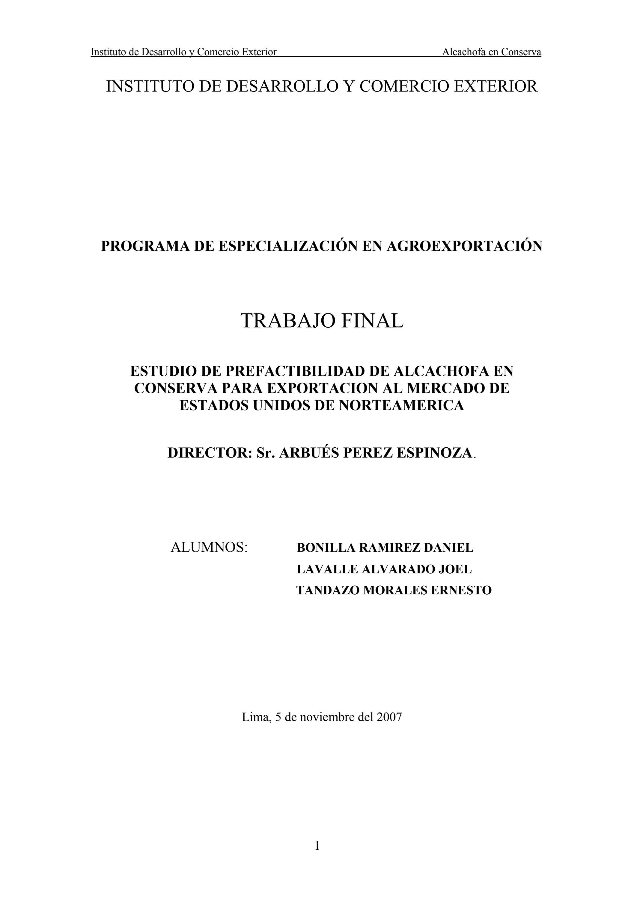 Exportacion De Alcachofa Peruana By Milagros Aragon Issuu