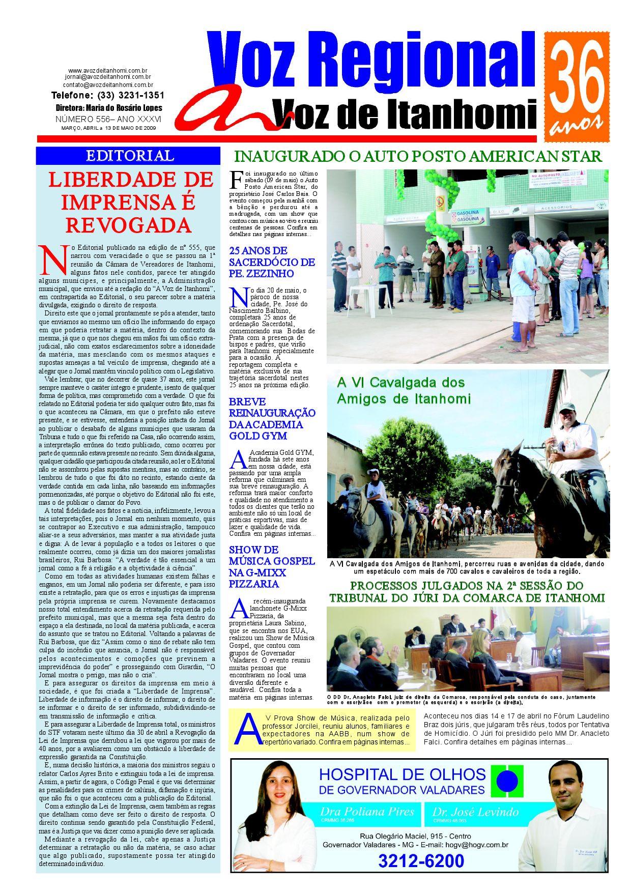 Anelise Pelada jornal a voz de itanhomi - edição nº 556jornal a voz de
