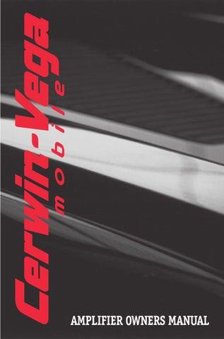 Cerwin Vega Amplifier Manual by Talk Audio Online - issuu