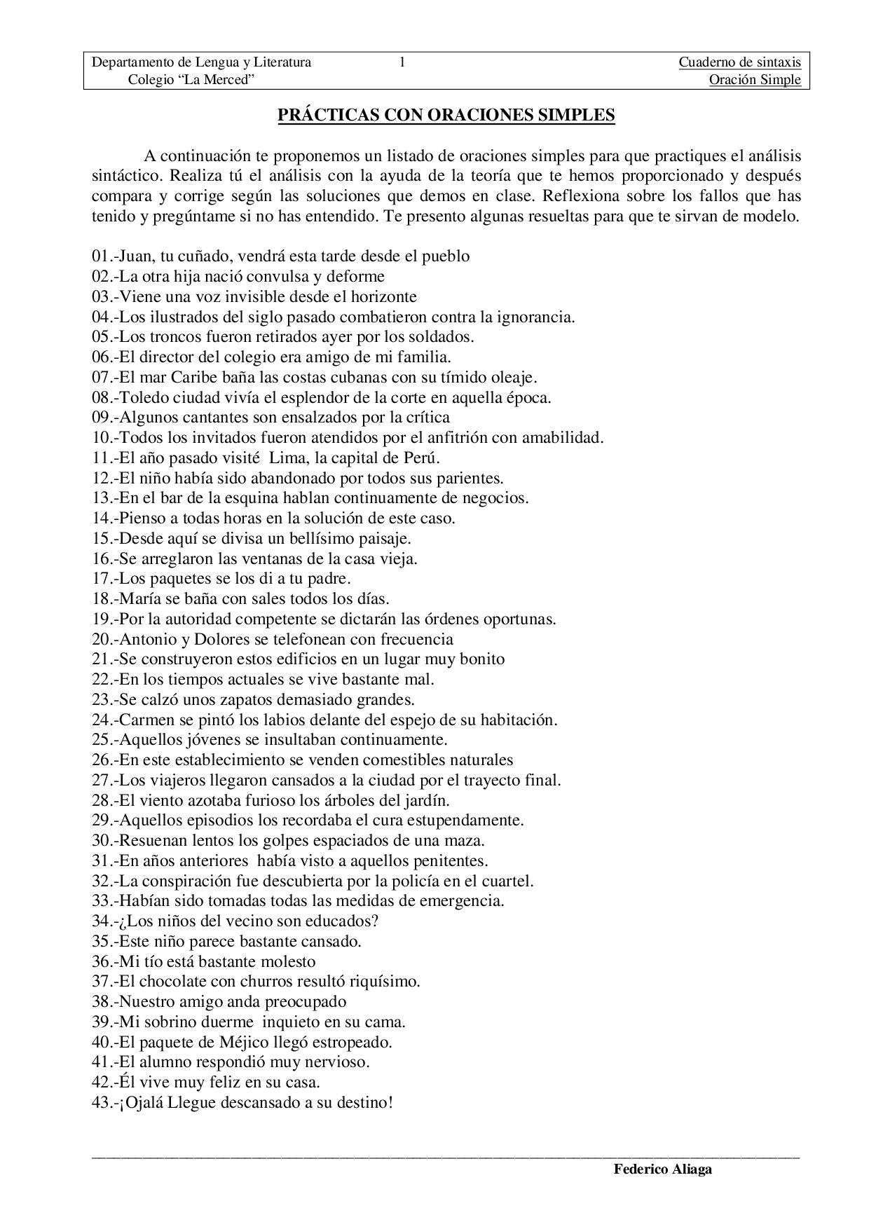 Oraciones Simples Analizadas By Ana Belen Issuu