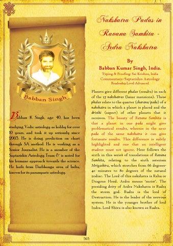 Microsoft Word 56 Ardra Nakshatra Padas In Ravana Samhita 1 By