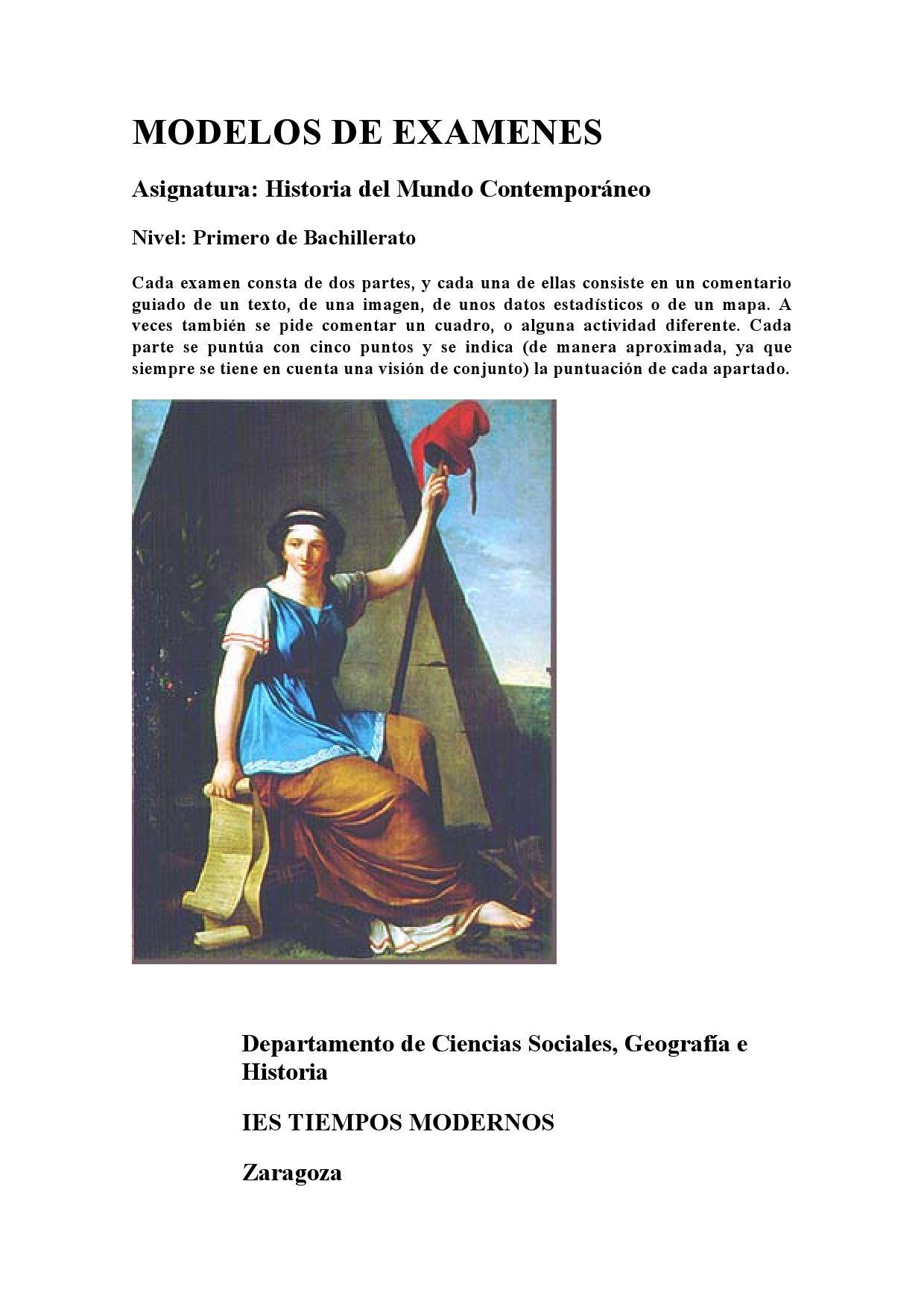 Modelos De Examen Historia Contemporanea By Mariano Lazaro Issuu