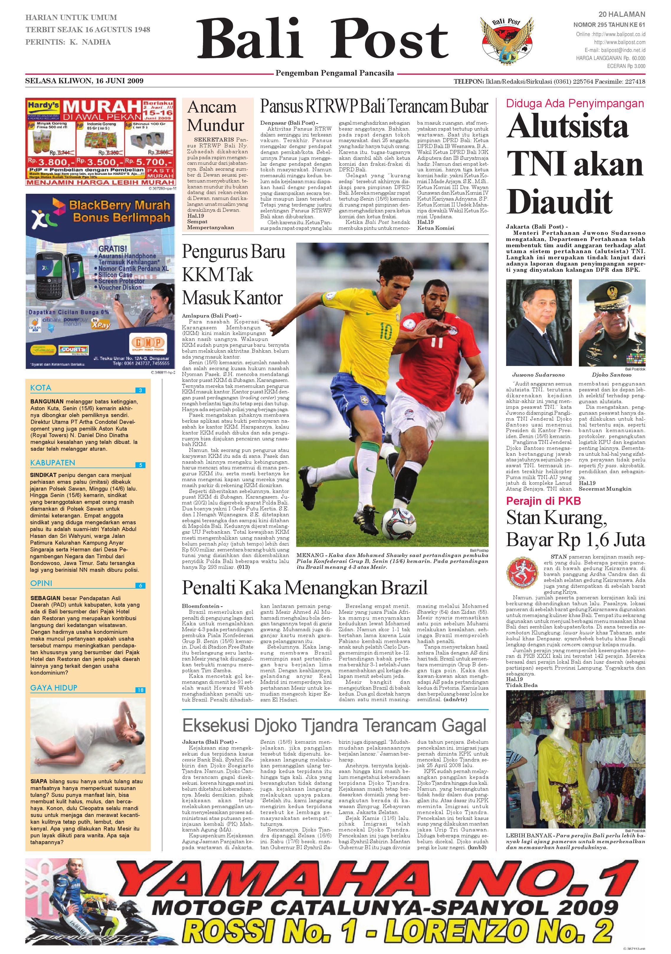 Bali Post Selasa 16 Juni 2009 By E Paper Kmb Issuu Sensi Doctor Cap Green Penutup Kepala 50 Pcs Khusus Area Pulau Jawa