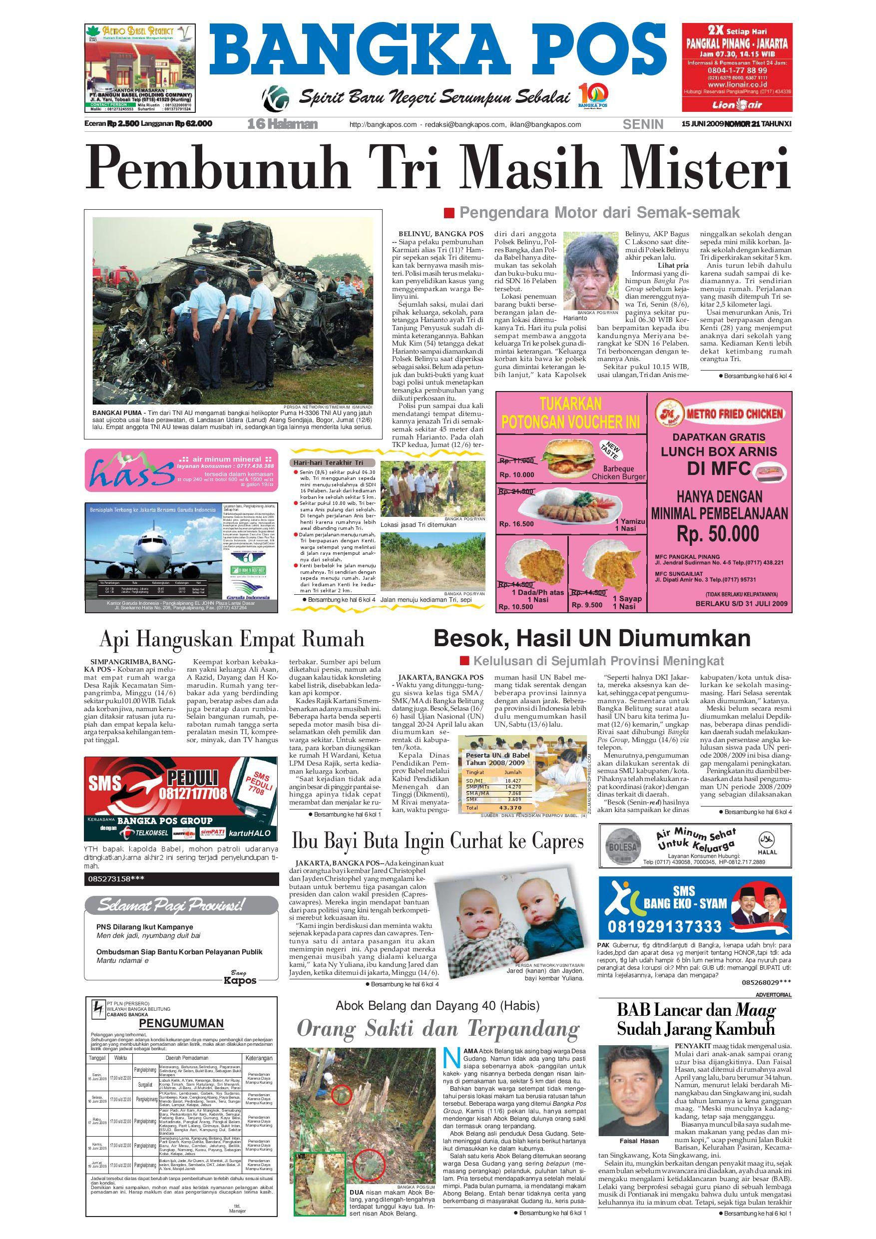 harian pagi bangka pos edisi 15 juni 2009 by bangka pos issuu