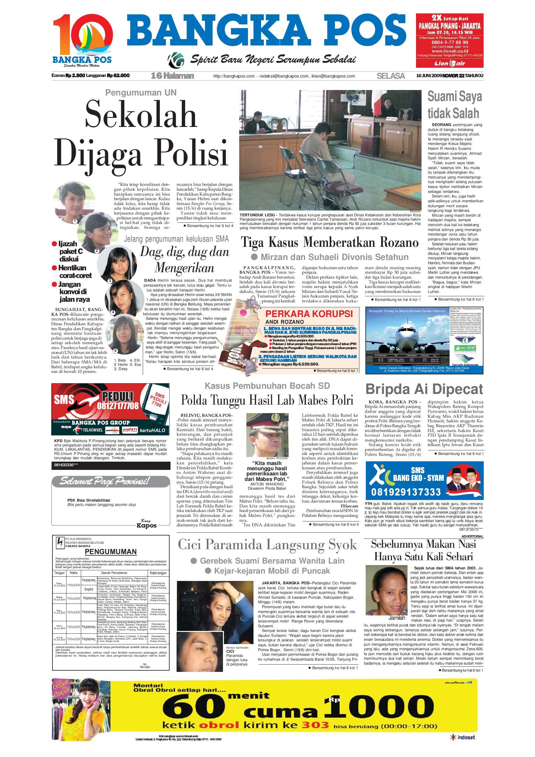 Harian Pagi Bangka Pos Edisi 16 Juni 2009 By Issuu Cut Off Machine Hitachi Cc 16sb Include Ppn
