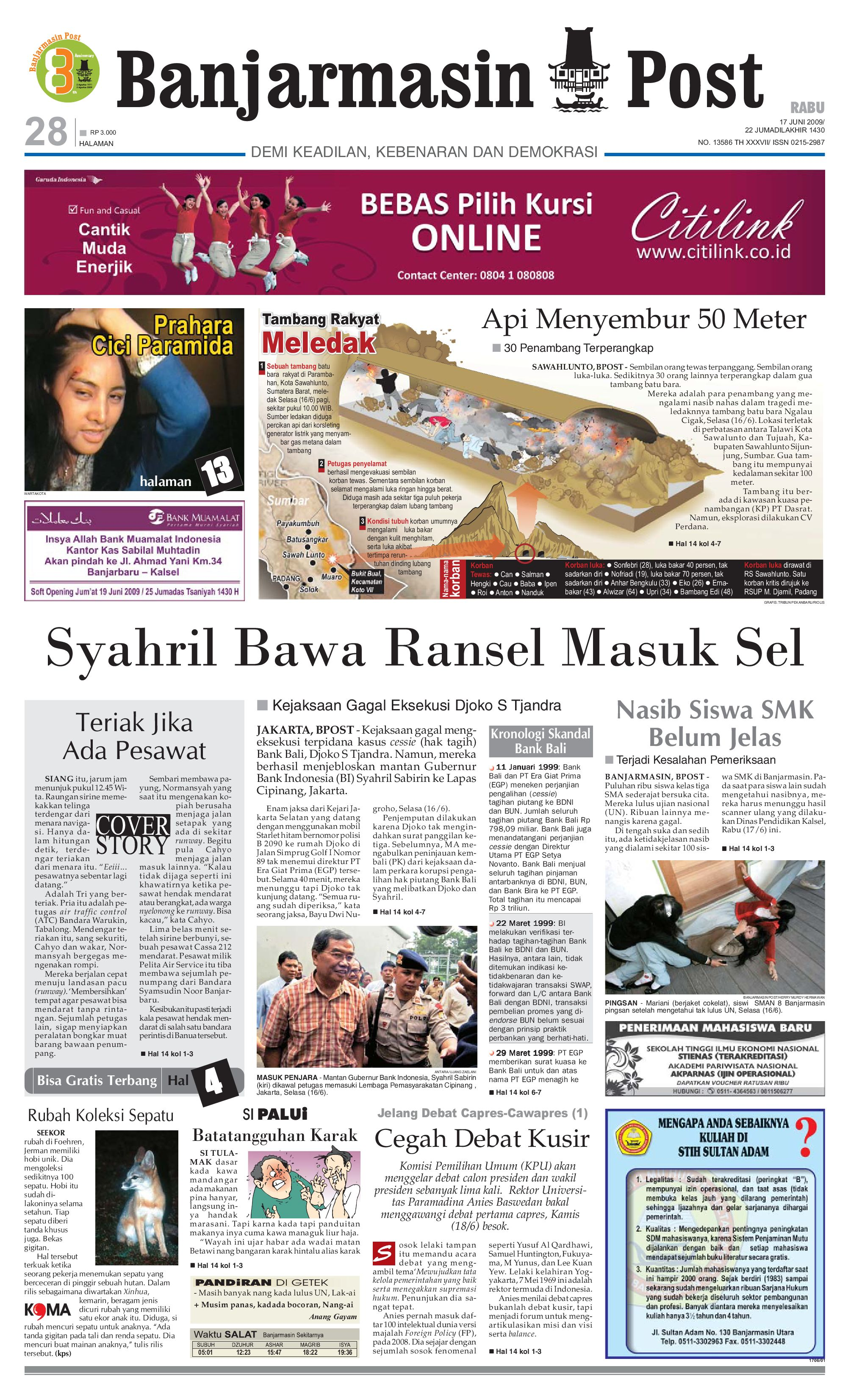 Banjarmasin Post Edisi Rabu 17 Juni 2009 By Issuu Tcash Vaganza 39 Bantal Mobil 3 In 1 Juventus Aksesoris