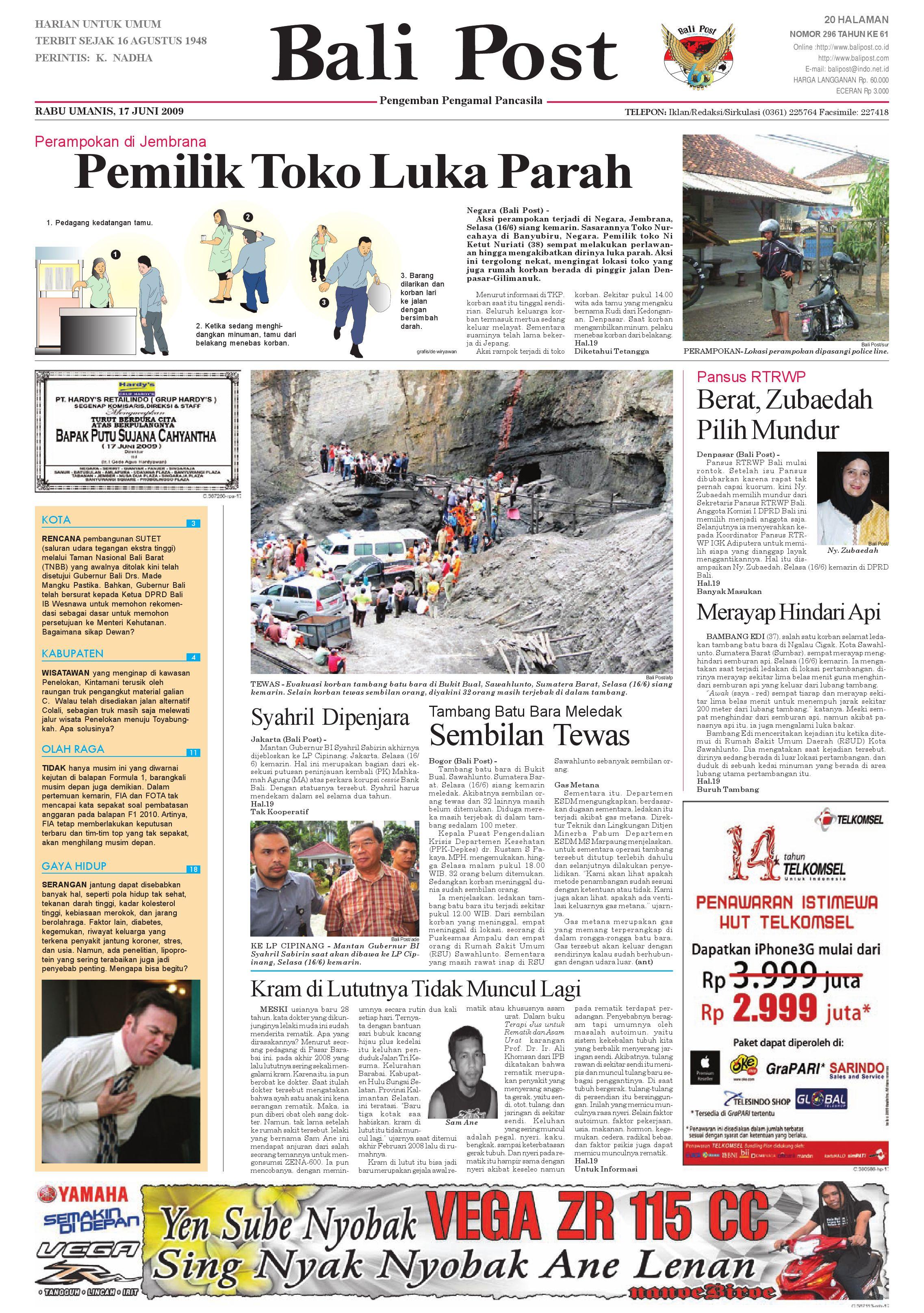 Bali Post Rabu 17 Juni 2009 By E Paper Kmb Issuu Voucher 300 Plus Tiara Gatzu Monang Maning Toko Soputan
