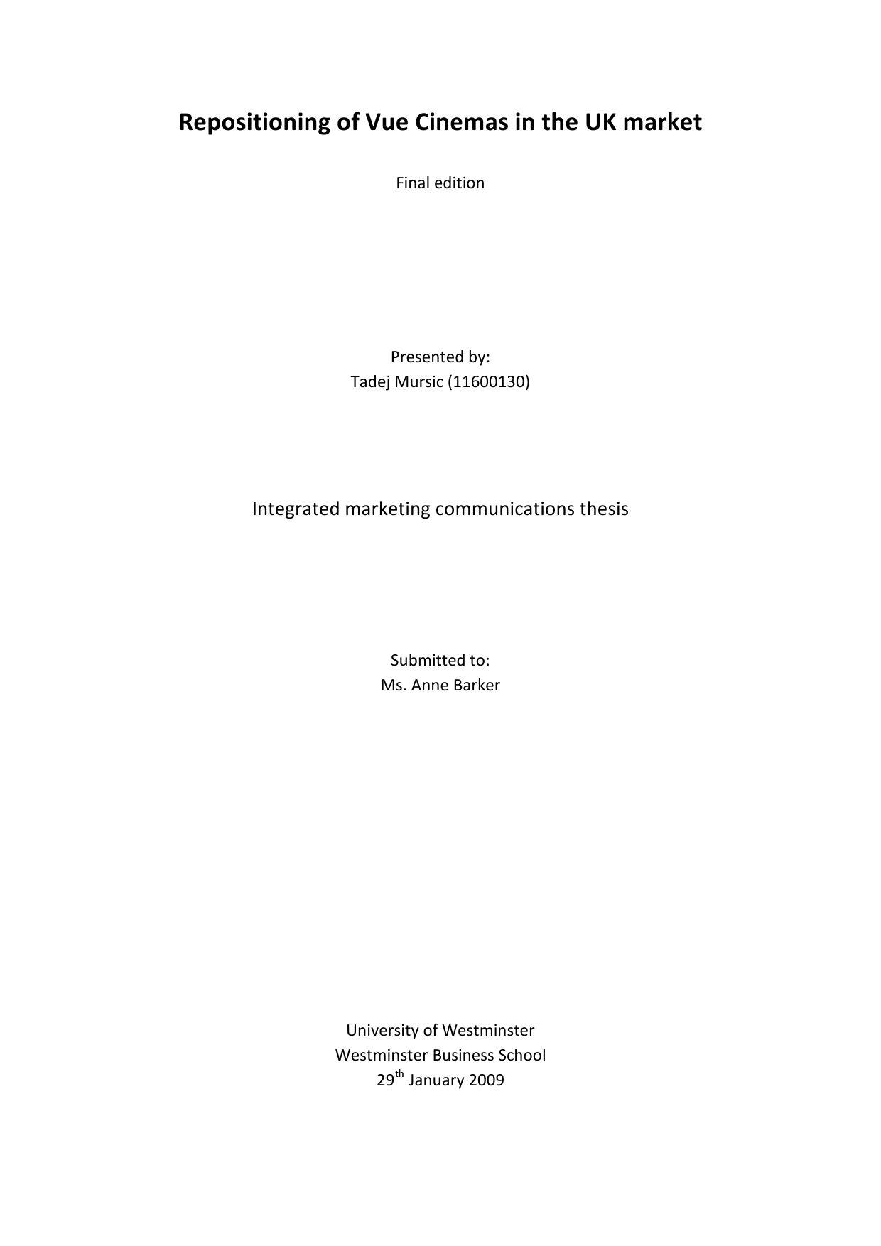 Repositioning of Vue Cinemas in the UK market by Tadej Mursic - issuu