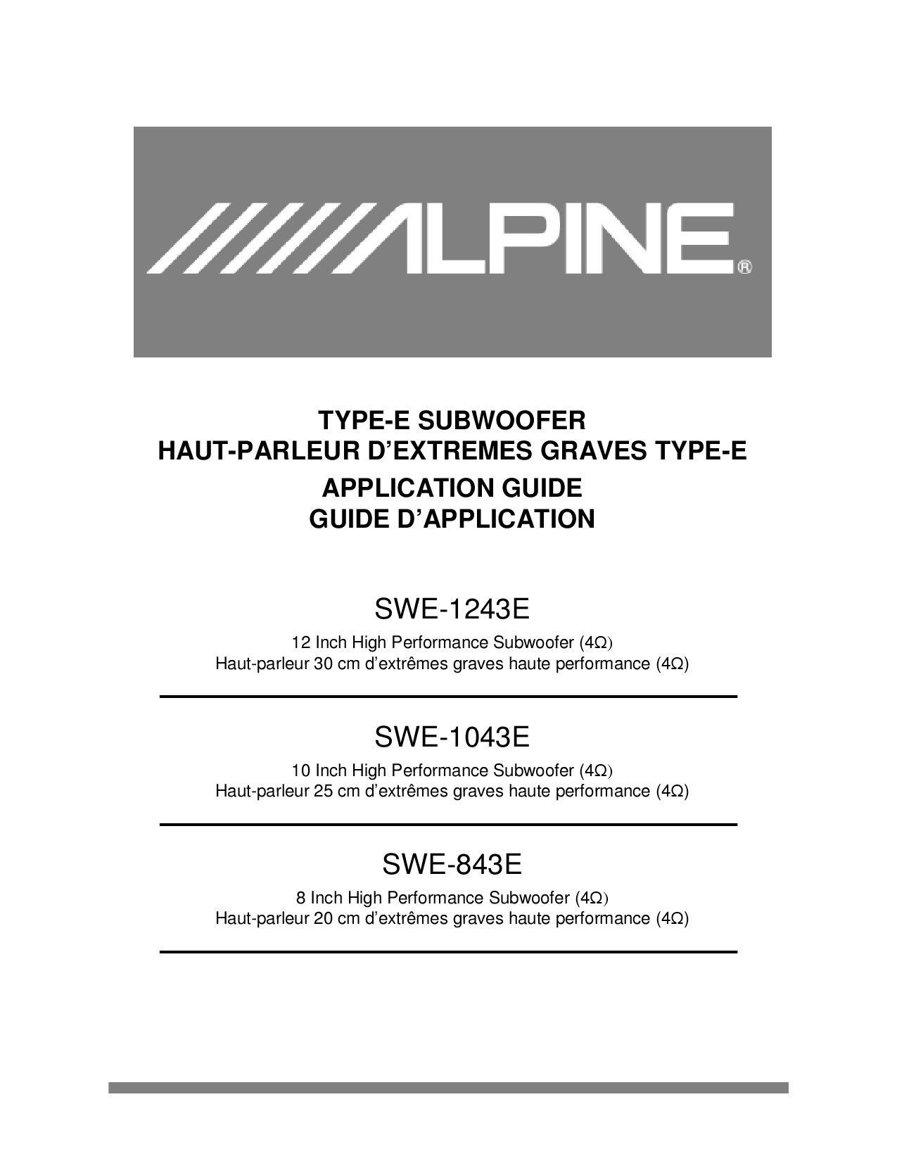 Type De Haut Parleur alpine swe843e/swe1043e/swe1243e manualtalk audio online