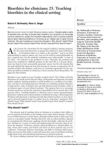 Bioethics for clinicians by Macarena Miranda - issuu