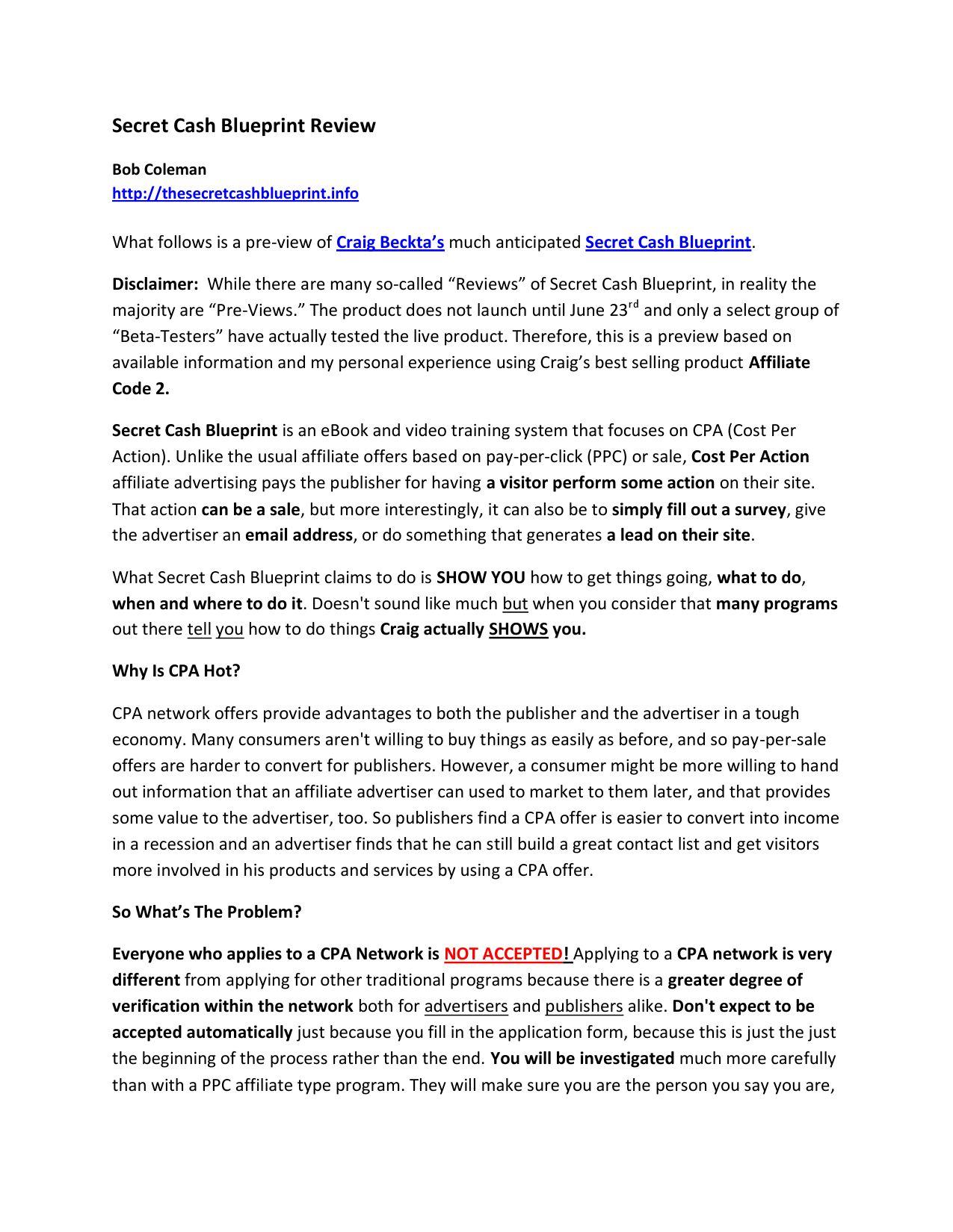 Secret cash blueprint review by bob coleman issuu malvernweather Images
