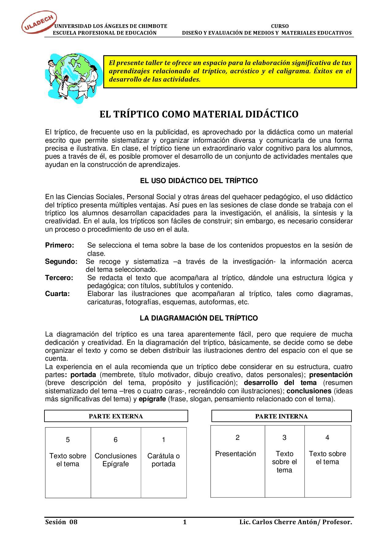 TRIPTICOS, ACROSTICOS Y CALIGRAMAS by Katisuka Morales Cueva - issuu