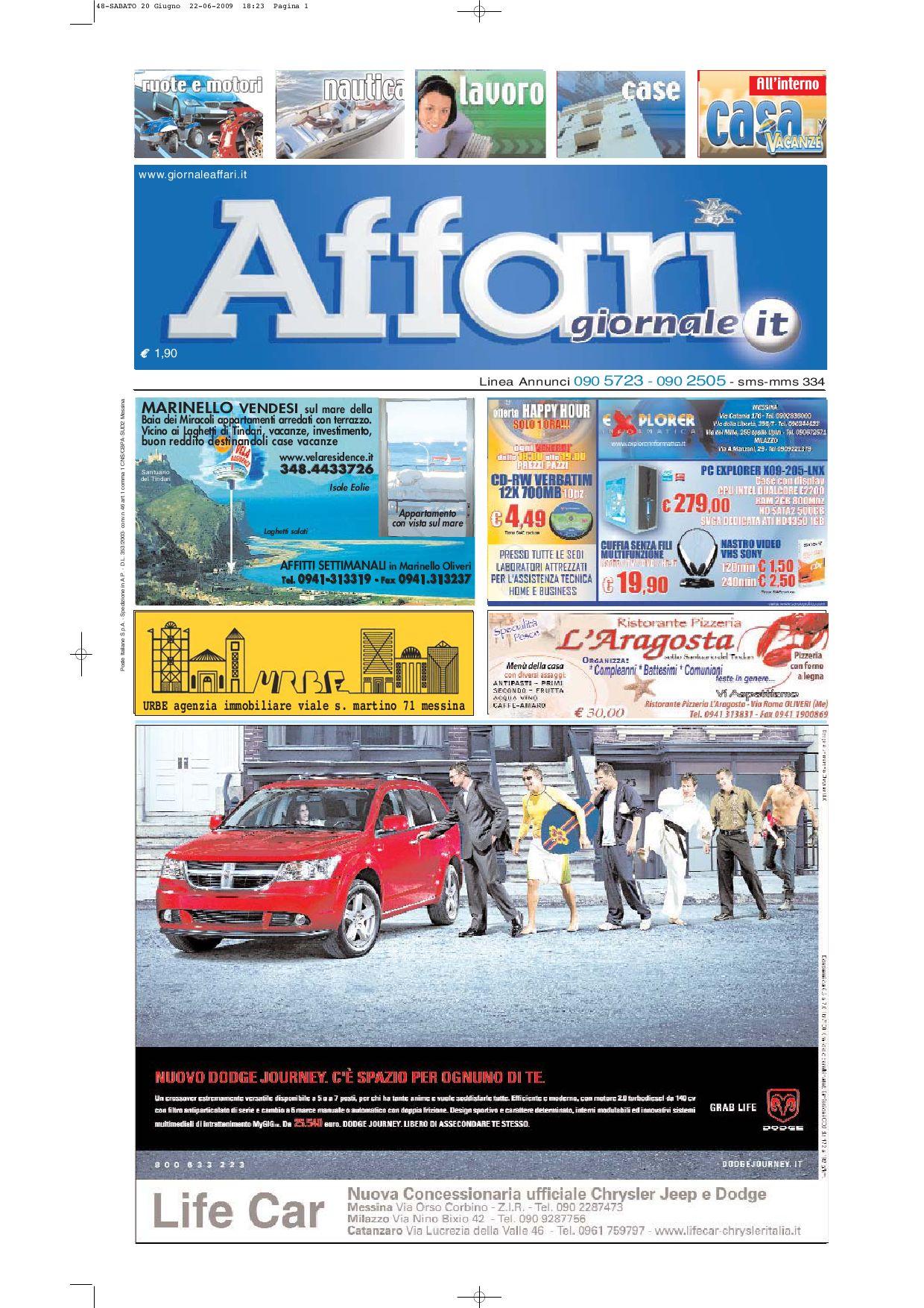Giornale Affari Sabato 20 Giugno 2009 by Editoriale Affari Srl - issuu eef59937414