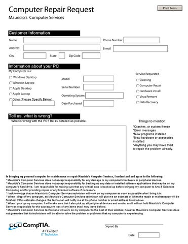 Repair Request Form | Computer Repair Request Form By Mauricio Mejia Issuu