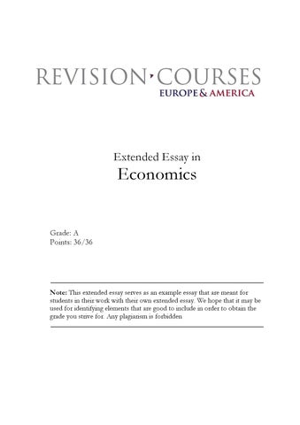 Extended Essay In Economics By Revision Courses Europe & America